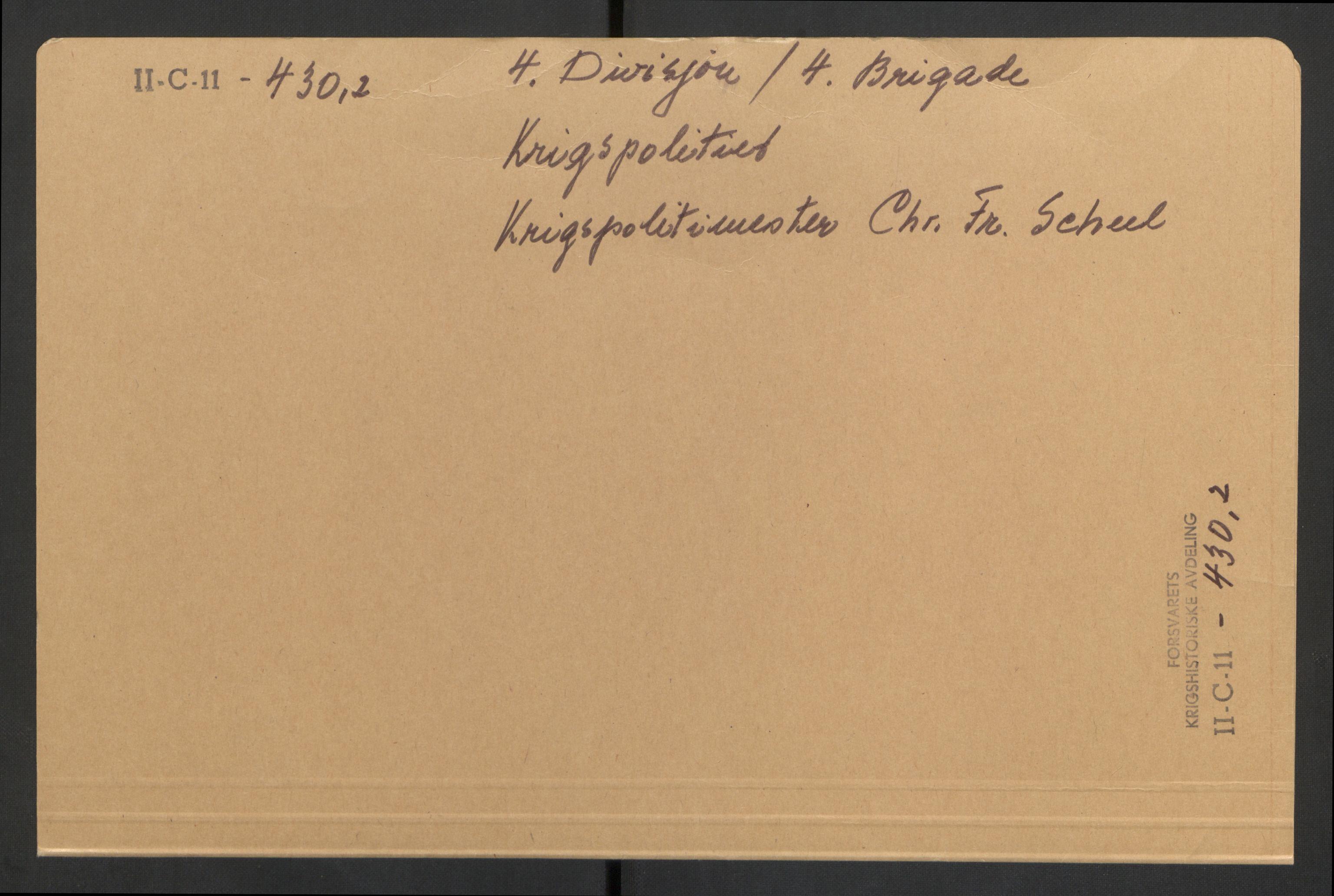 RA, Forsvaret, Forsvarets krigshistoriske avdeling, Y/Yb/L0105: II-C-11-430-432  -  4. Divisjon., 1940, s. 1