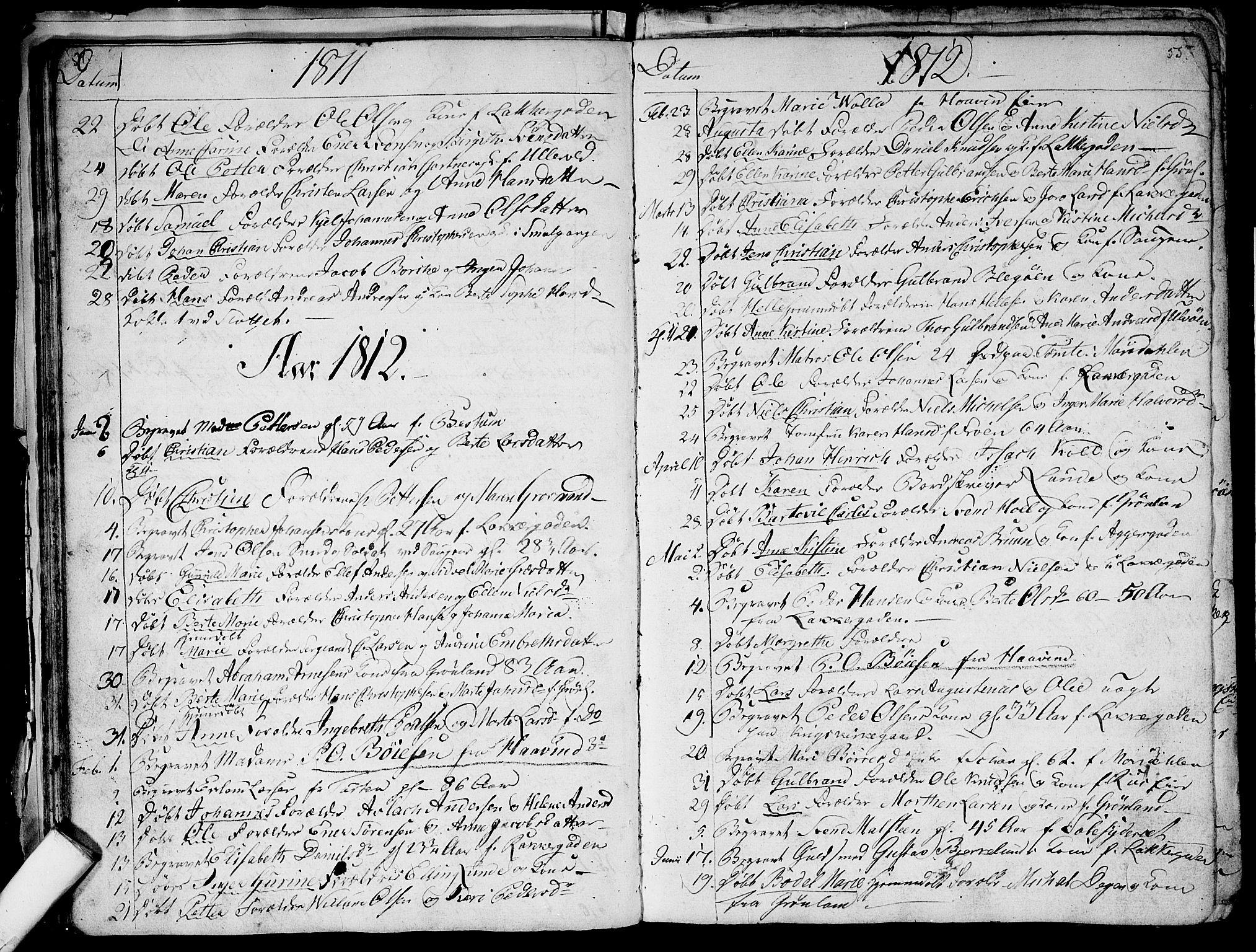 SAO, Aker prestekontor kirkebøker, G/L0001: Klokkerbok nr. 1, 1796-1826, s. 54-55