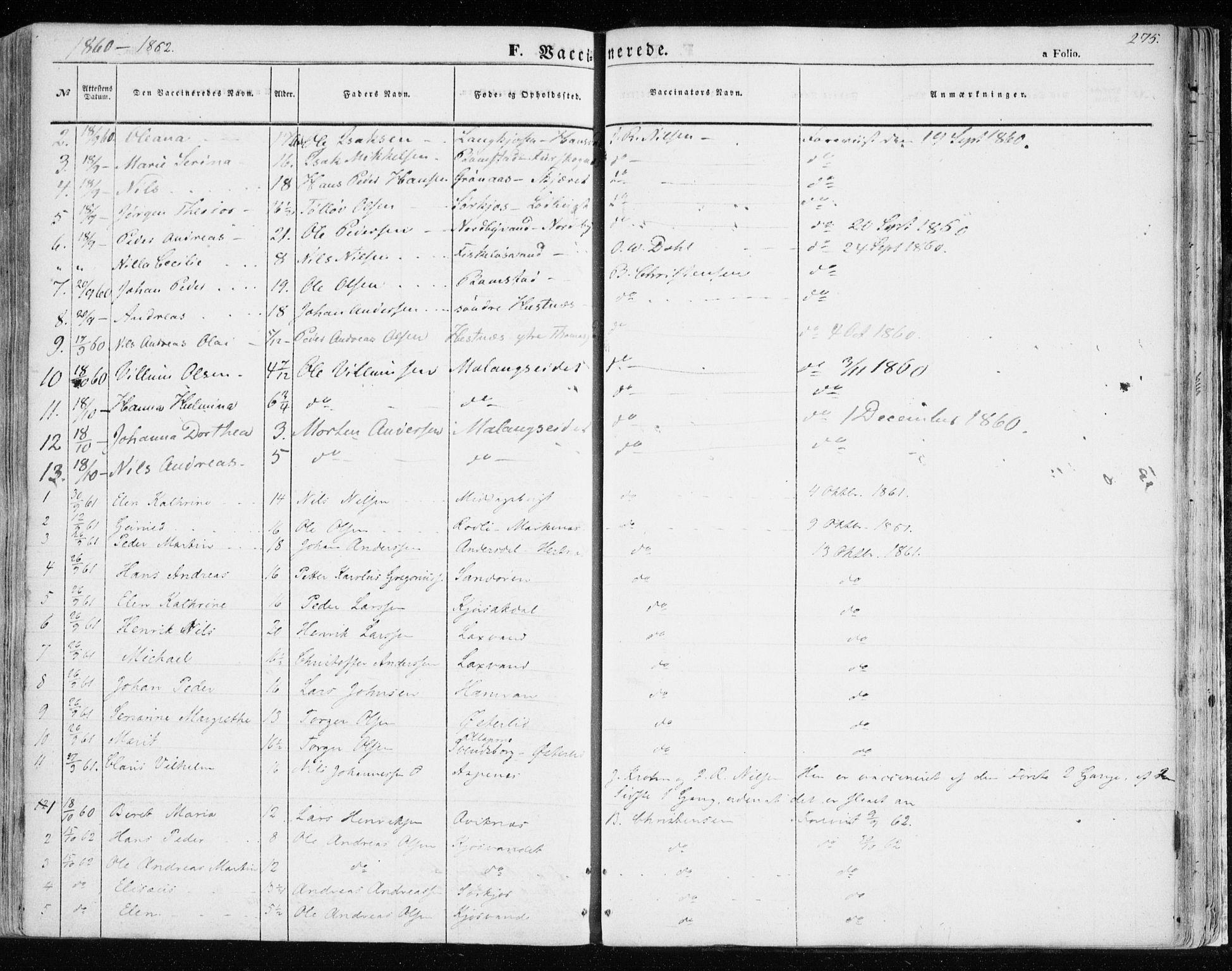 SATØ, Balsfjord sokneprestembete, Ministerialbok nr. 3, 1856-1870, s. 275