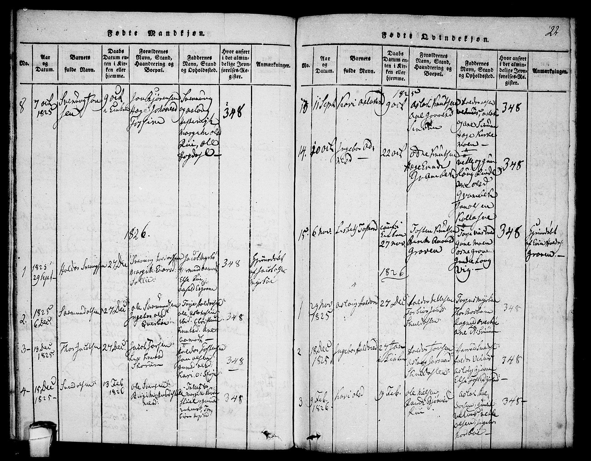 SAKO, Seljord kirkebøker, F/Fc/L0001: Ministerialbok nr. III 1, 1815-1831, s. 22