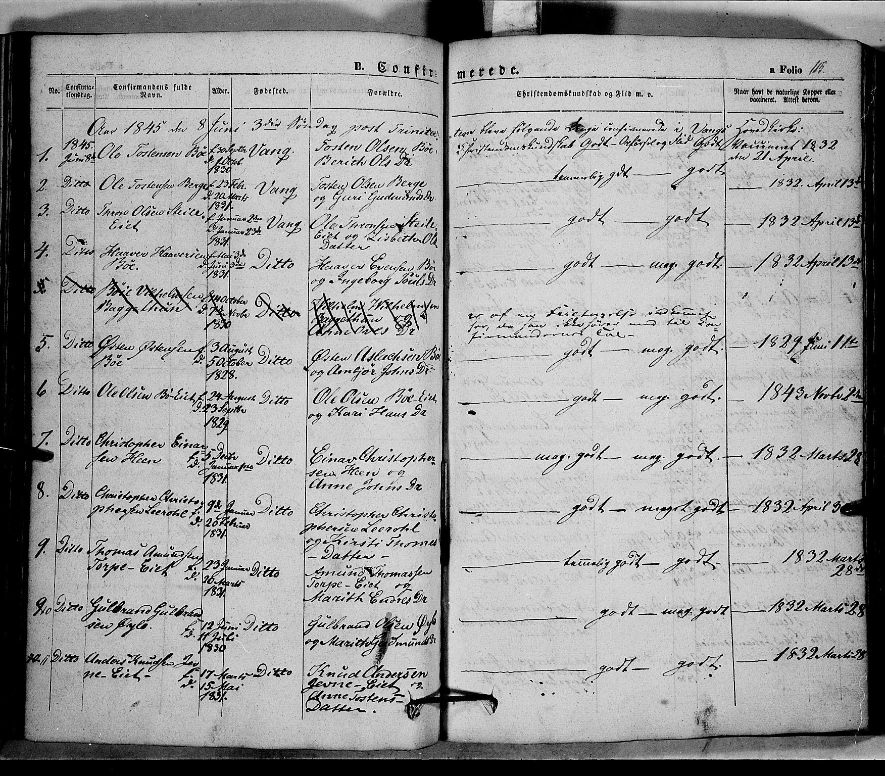 SAH, Vang prestekontor, Valdres, Ministerialbok nr. 5, 1831-1845, s. 115
