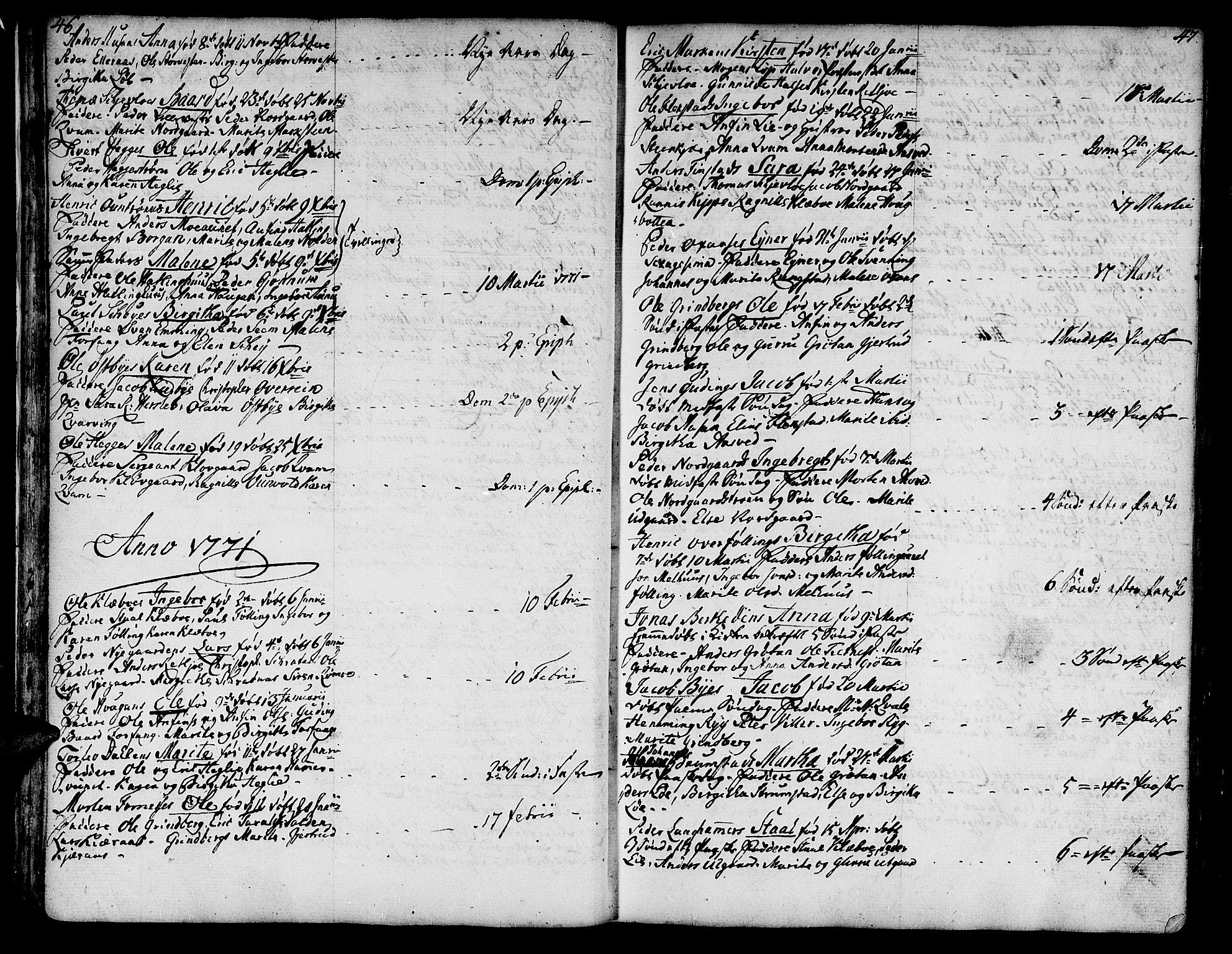 SAT, Ministerialprotokoller, klokkerbøker og fødselsregistre - Nord-Trøndelag, 746/L0440: Ministerialbok nr. 746A02, 1760-1815, s. 46-47
