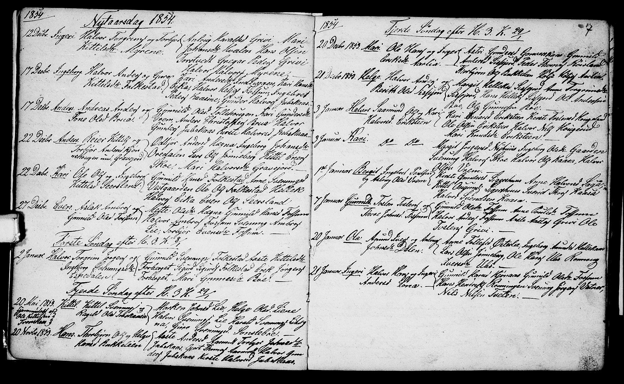 SAKO, Bø kirkebøker, G/Ga/L0002: Klokkerbok nr. 2, 1853-1866, s. 7