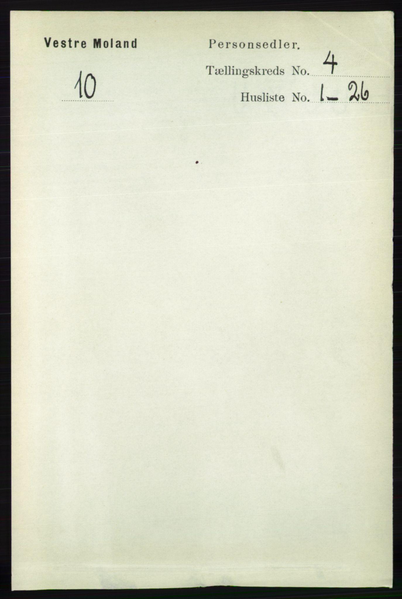 RA, Folketelling 1891 for 0926 Vestre Moland herred, 1891, s. 1223