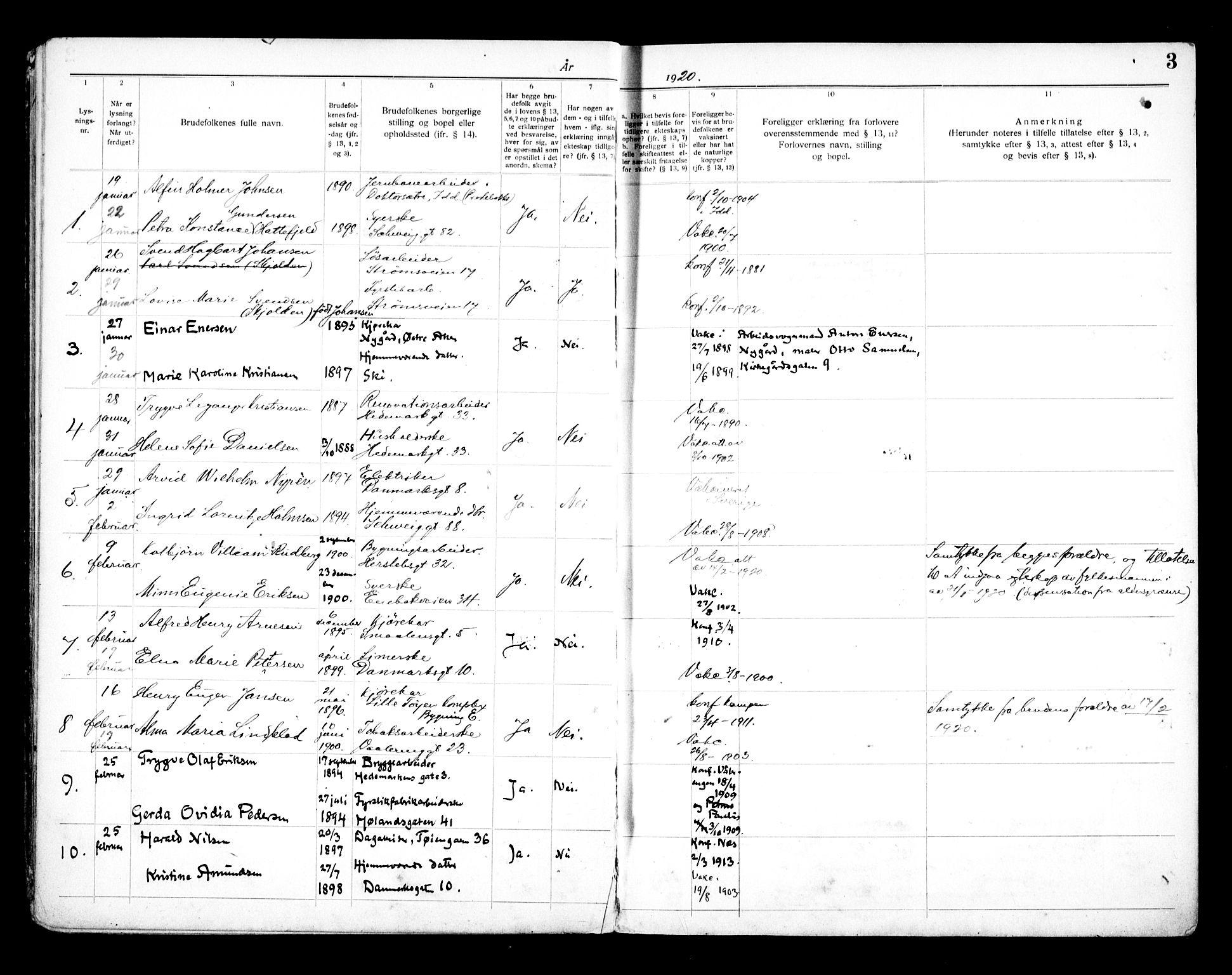 SAO, Vålerengen prestekontor Kirkebøker, H/Ha/L0003: Lysningsprotokoll nr. 3, 1919-1932, s. 3