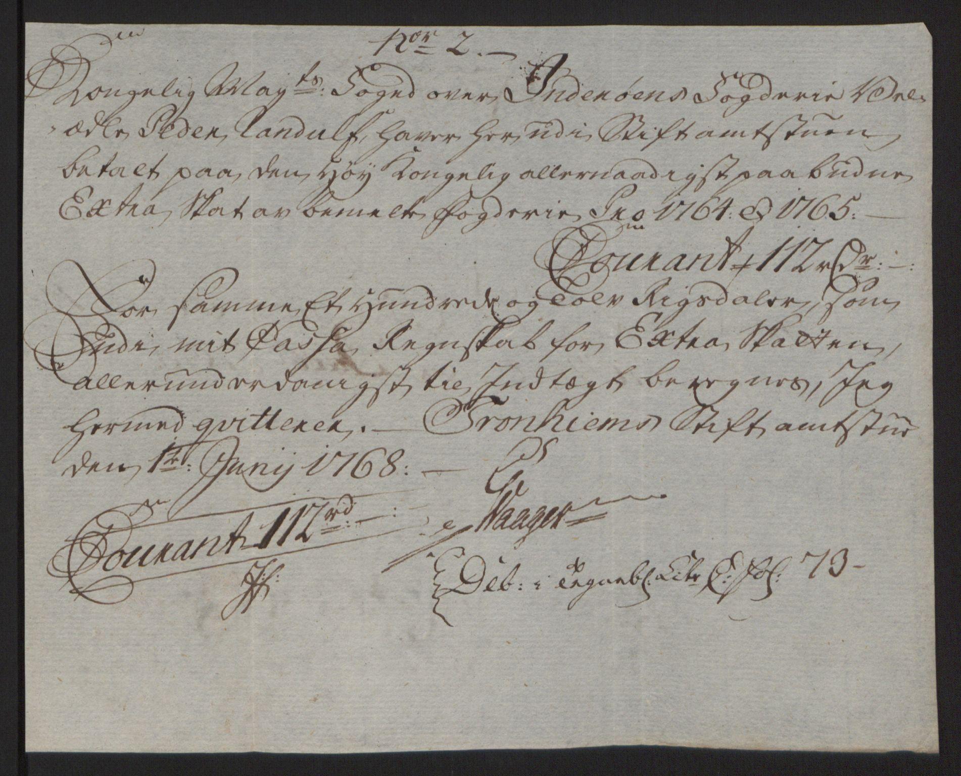 RA, Rentekammeret inntil 1814, Reviderte regnskaper, Fogderegnskap, R63/L4420: Ekstraskatten Inderøy, 1762-1772, s. 186