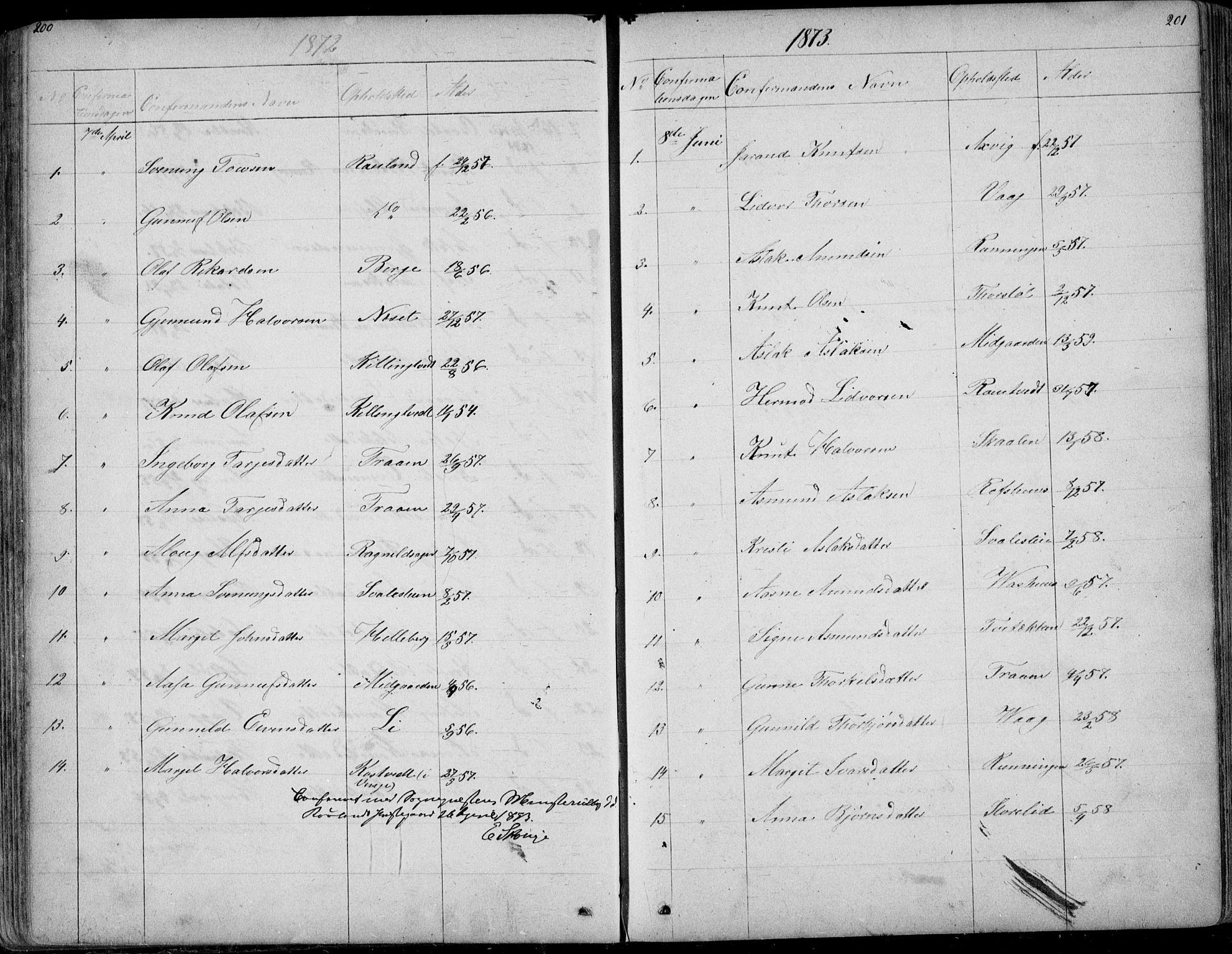SAKO, Rauland kirkebøker, G/Ga/L0002: Klokkerbok nr. I 2, 1849-1935, s. 200-201