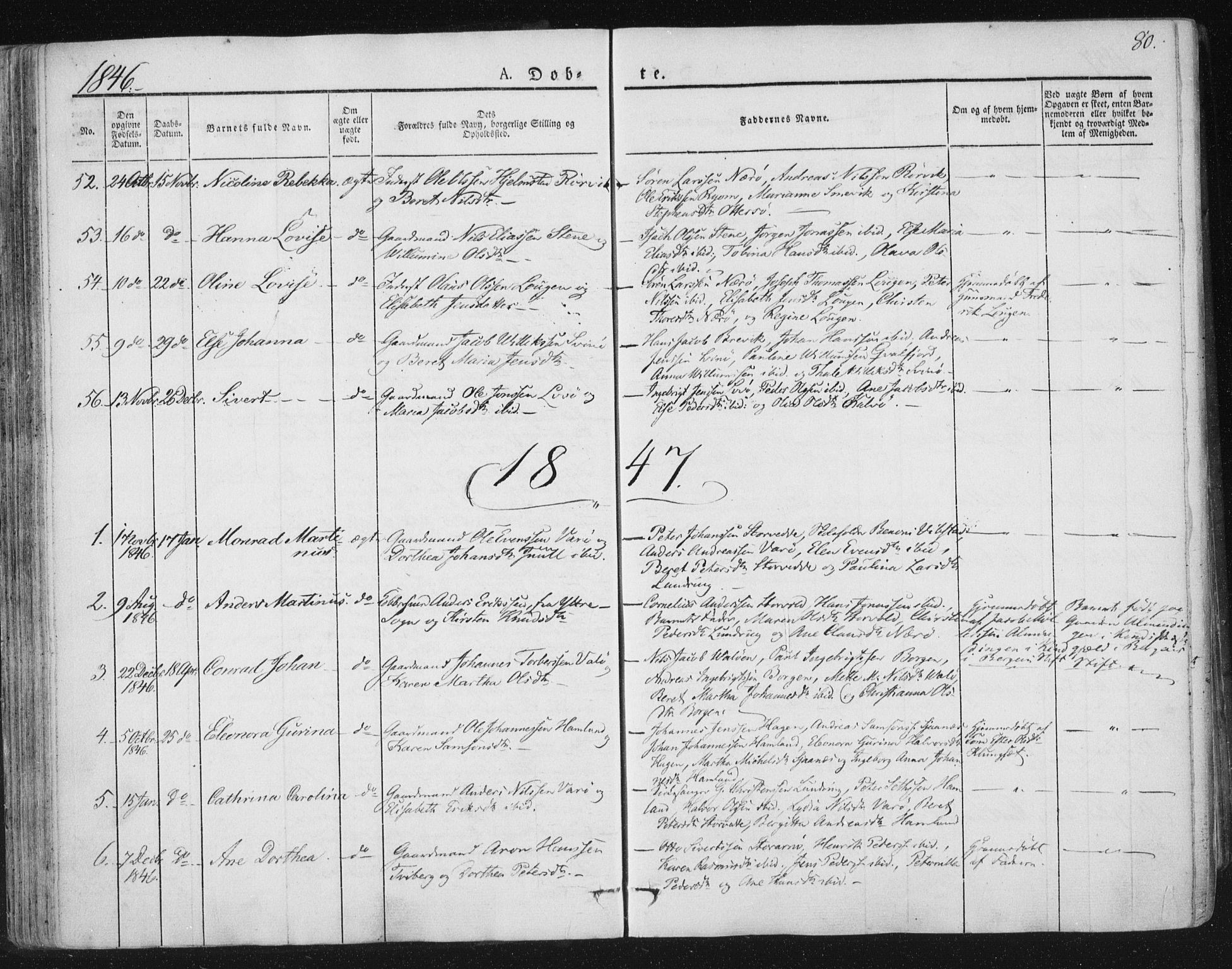 SAT, Ministerialprotokoller, klokkerbøker og fødselsregistre - Nord-Trøndelag, 784/L0669: Ministerialbok nr. 784A04, 1829-1859, s. 80
