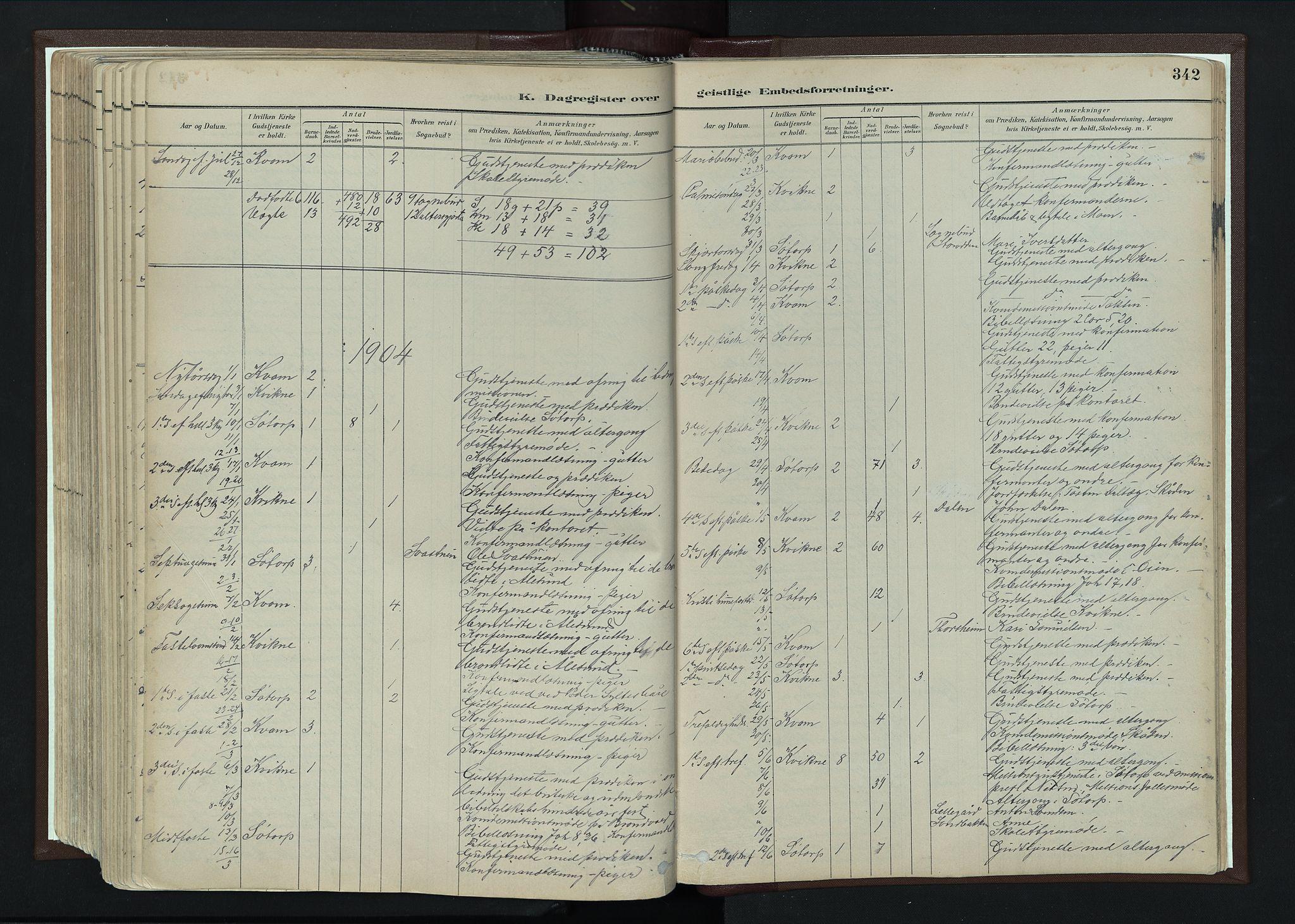 SAH, Nord-Fron prestekontor, Ministerialbok nr. 4, 1884-1914, s. 342