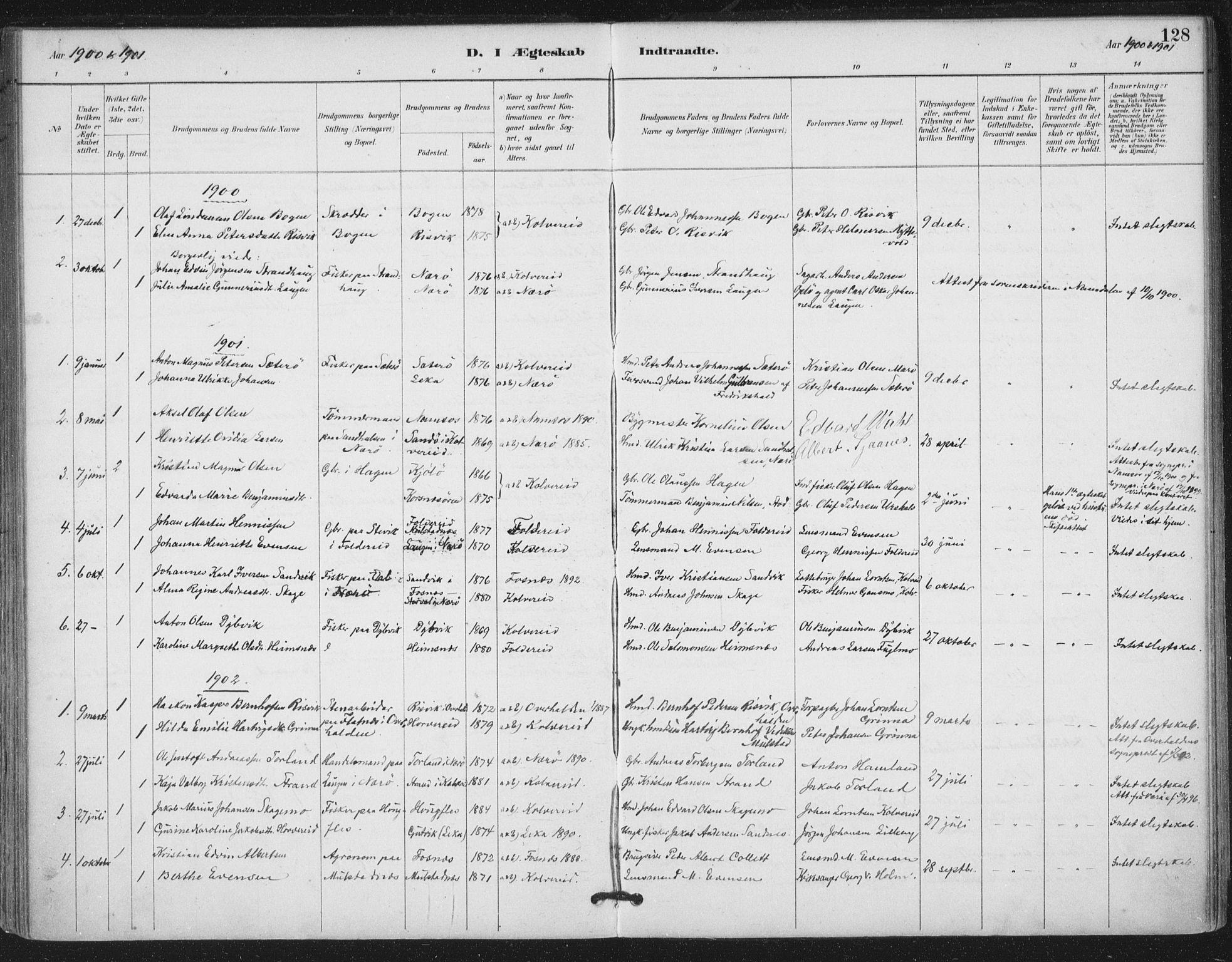 SAT, Ministerialprotokoller, klokkerbøker og fødselsregistre - Nord-Trøndelag, 780/L0644: Ministerialbok nr. 780A08, 1886-1903, s. 128