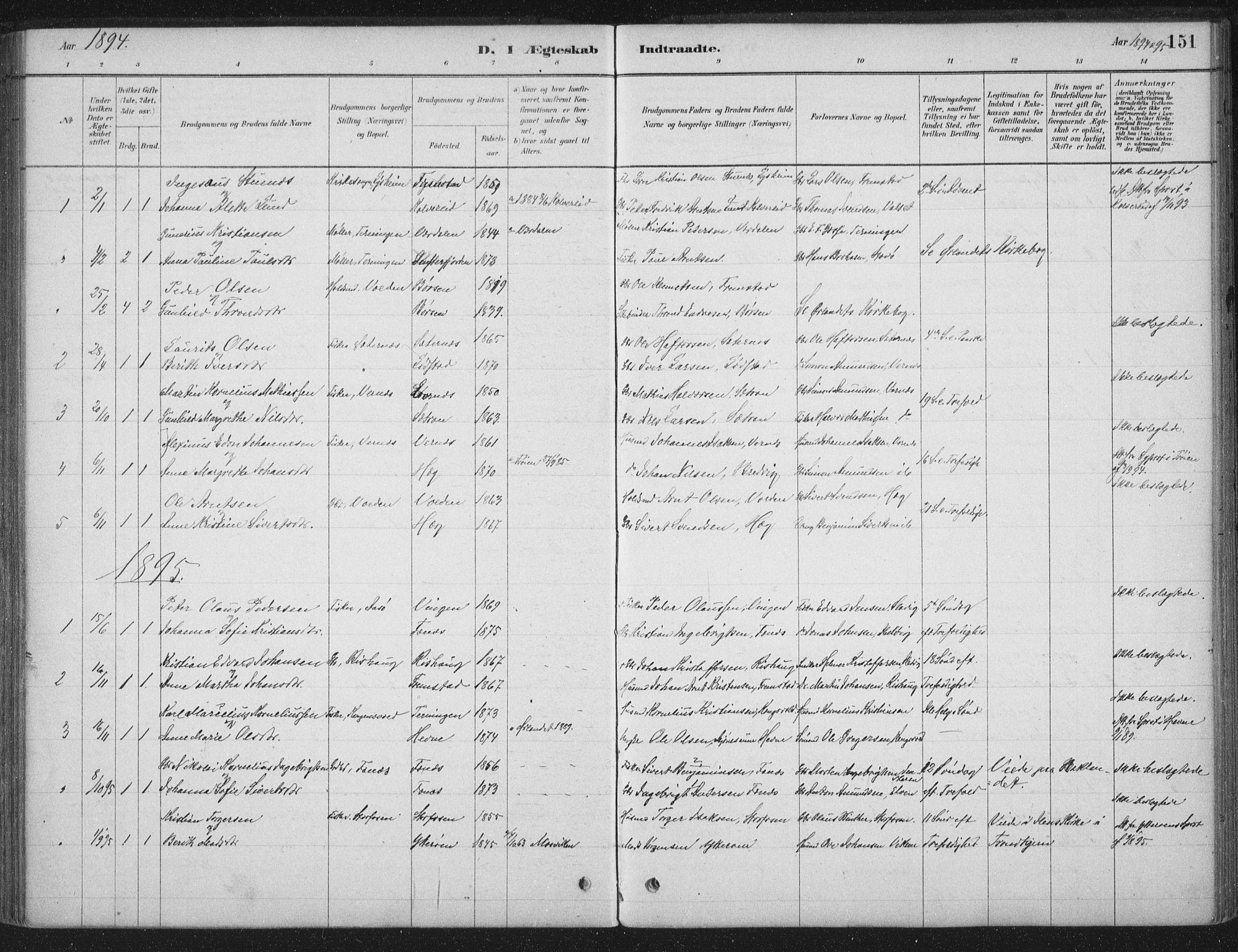 SAT, Ministerialprotokoller, klokkerbøker og fødselsregistre - Sør-Trøndelag, 662/L0755: Ministerialbok nr. 662A01, 1879-1905, s. 151