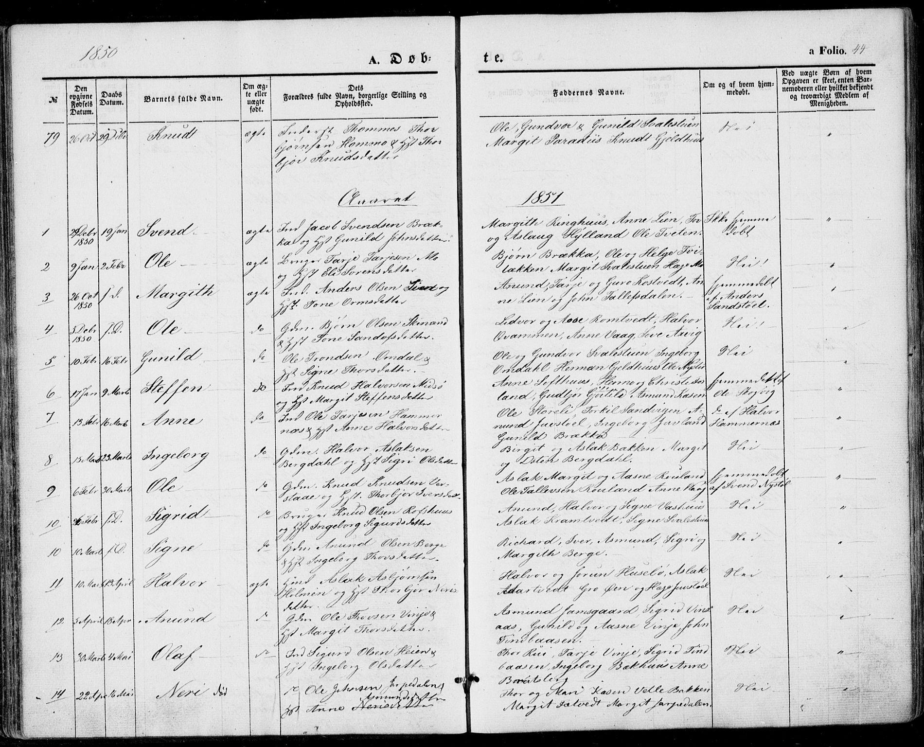 SAKO, Vinje kirkebøker, F/Fa/L0004: Ministerialbok nr. I 4, 1843-1869, s. 44