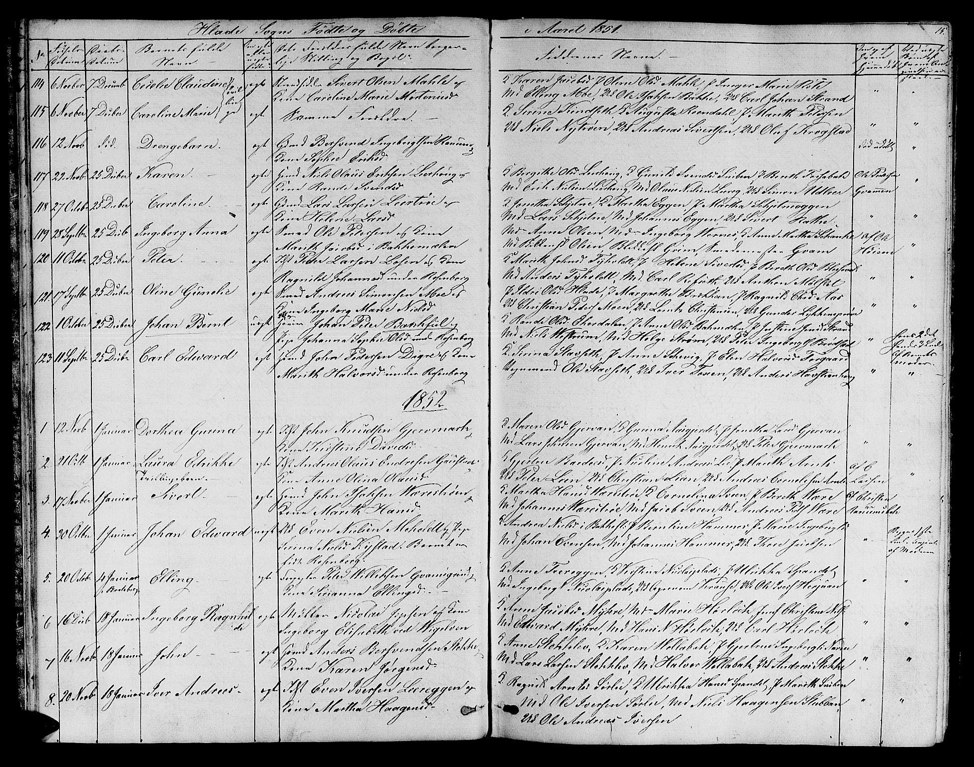 SAT, Ministerialprotokoller, klokkerbøker og fødselsregistre - Sør-Trøndelag, 606/L0310: Klokkerbok nr. 606C06, 1850-1859, s. 15
