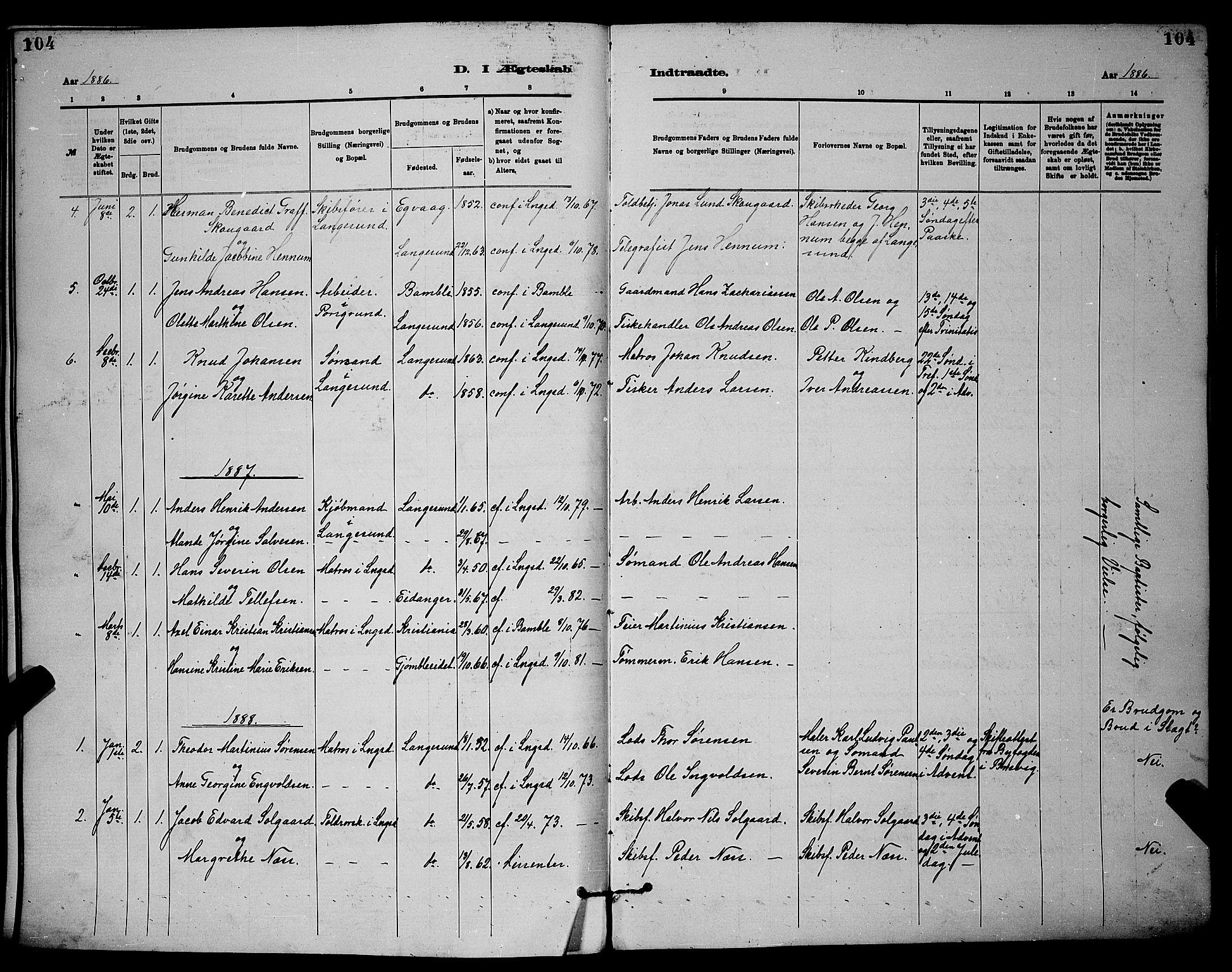 SAKO, Langesund kirkebøker, G/Ga/L0005: Klokkerbok nr. 5, 1884-1898, s. 104