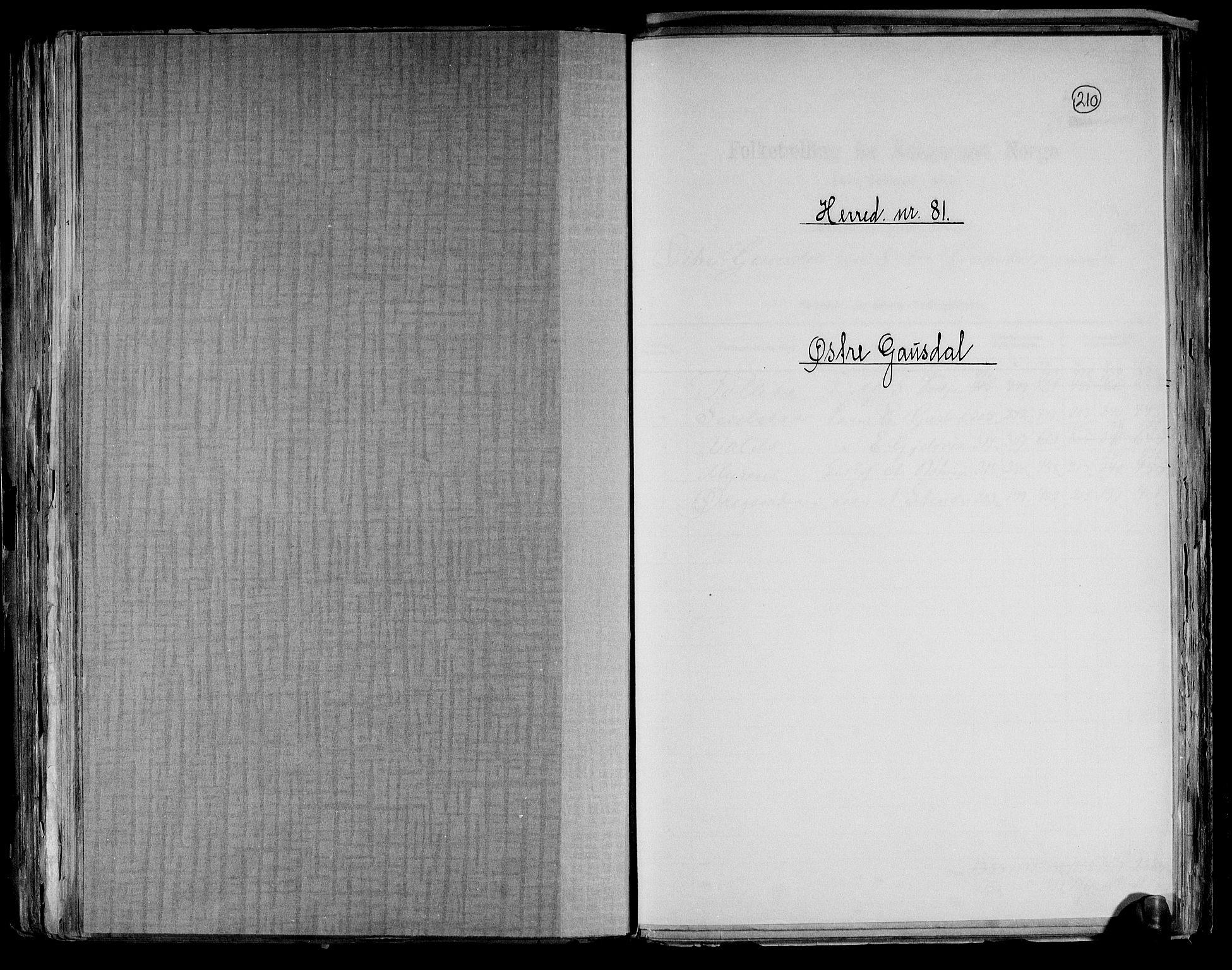 RA, Folketelling 1891 for 0522 Østre Gausdal herred, 1891, s. 1
