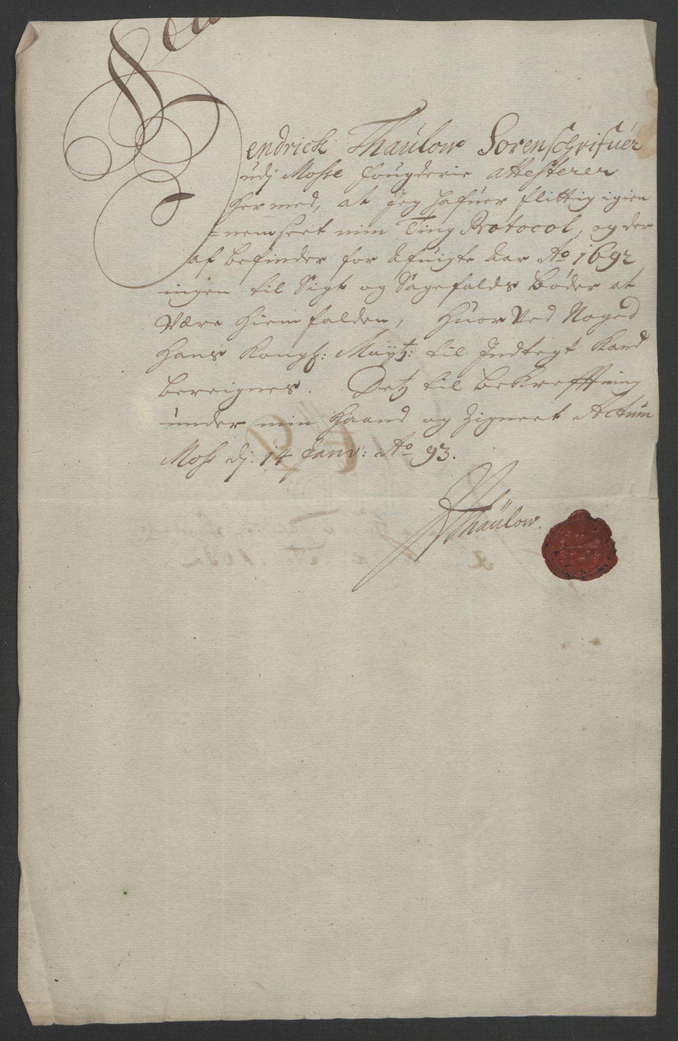RA, Rentekammeret inntil 1814, Reviderte regnskaper, Fogderegnskap, R02/L0108: Fogderegnskap Moss og Verne kloster, 1692-1693, s. 60