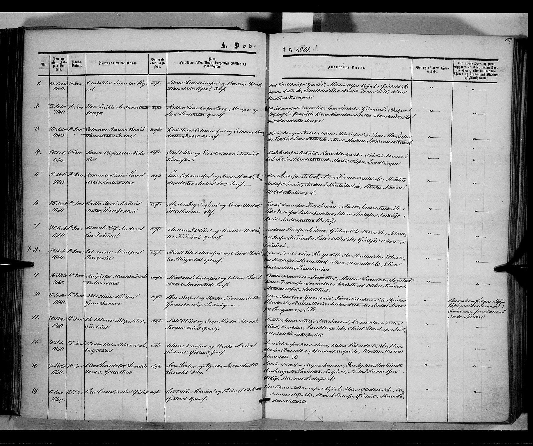 SAH, Vestre Toten prestekontor, Ministerialbok nr. 6, 1856-1861, s. 103