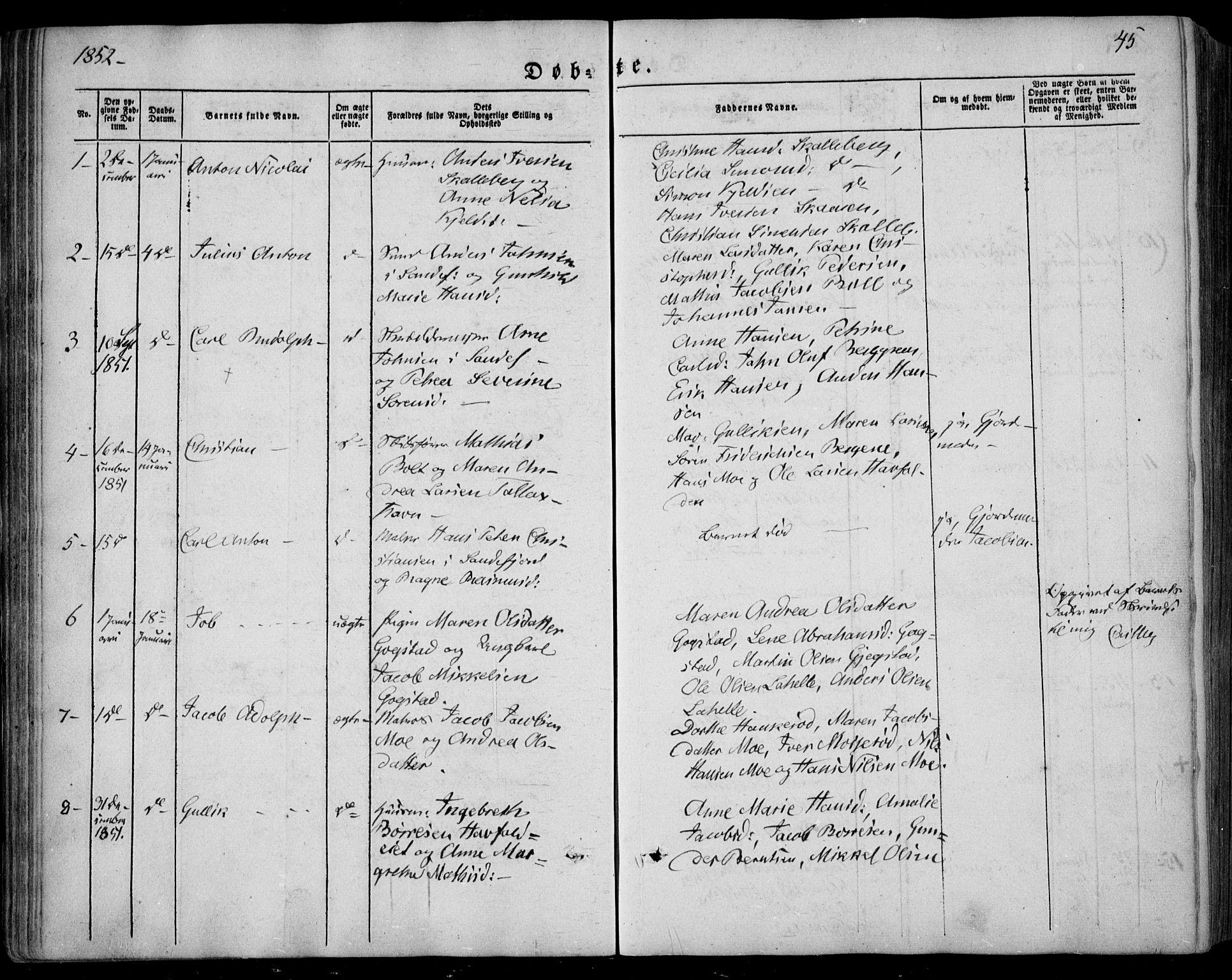 SAKO, Sandar kirkebøker, F/Fa/L0006: Ministerialbok nr. 6, 1847-1860, s. 45