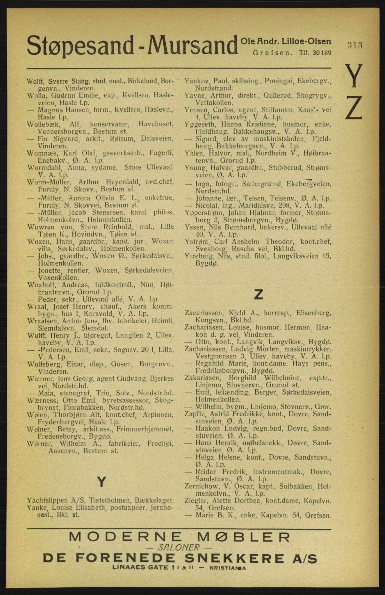 RA, Aker adressebok/adressekalender (publikasjon)*, 1922, s. 313