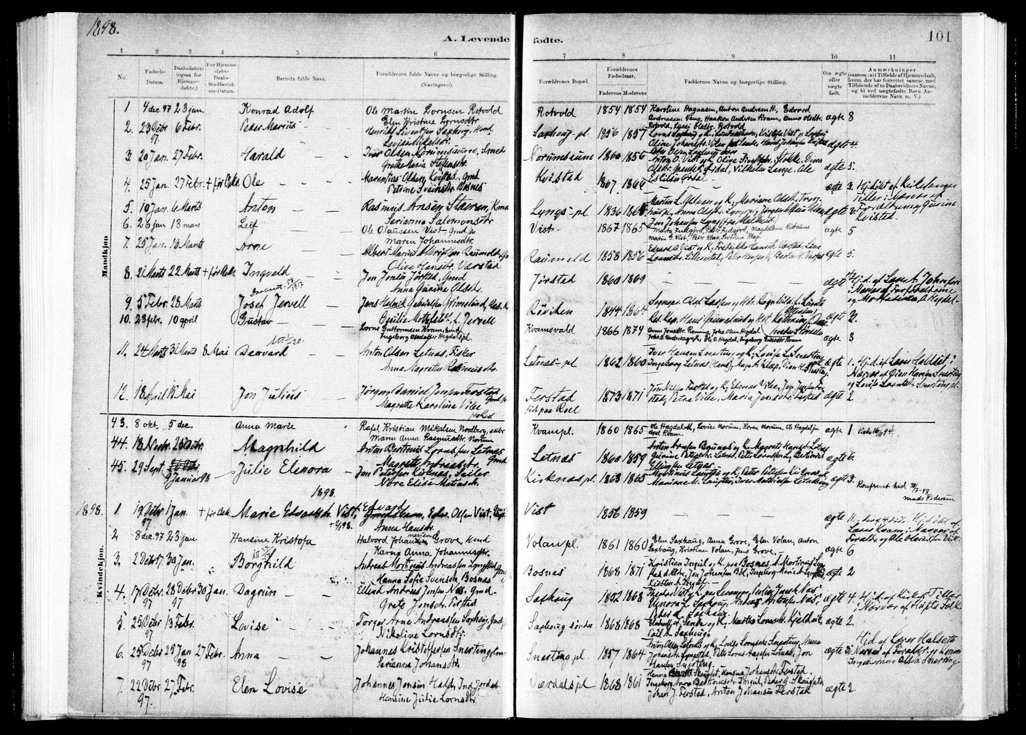 SAT, Ministerialprotokoller, klokkerbøker og fødselsregistre - Nord-Trøndelag, 730/L0285: Ministerialbok nr. 730A10, 1879-1914, s. 101