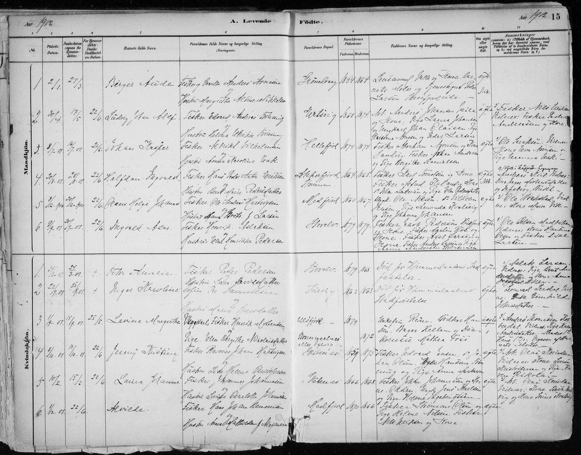 SATØ, Hammerfest sokneprestkontor, H/Ha/L0013.kirke: Ministerialbok nr. 13, 1898-1917, s. 15