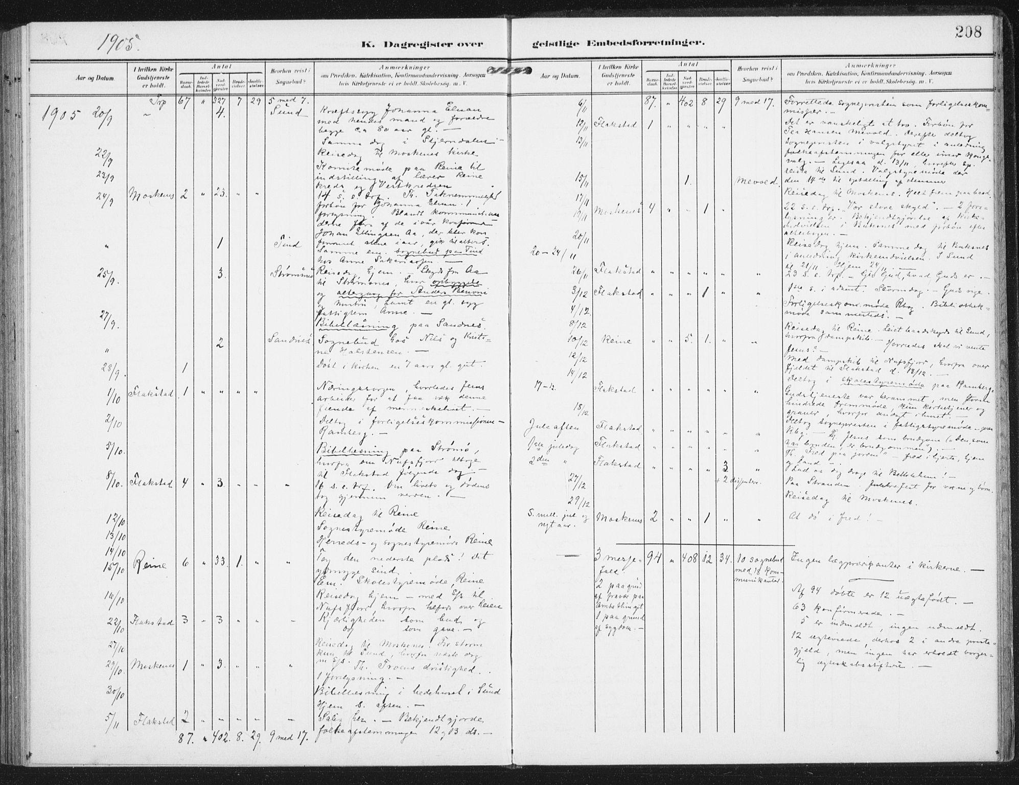 SAT, Ministerialprotokoller, klokkerbøker og fødselsregistre - Nordland, 885/L1206: Ministerialbok nr. 885A07, 1905-1915, s. 208