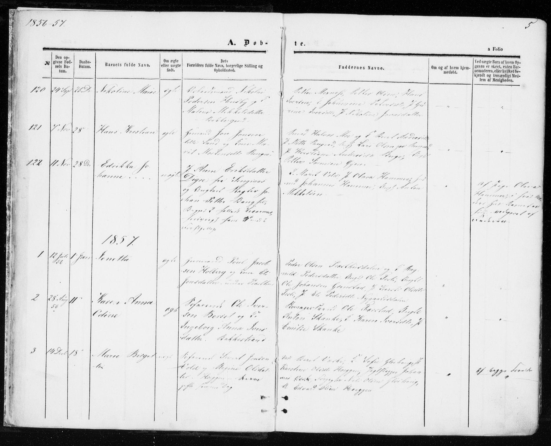 SAT, Ministerialprotokoller, klokkerbøker og fødselsregistre - Sør-Trøndelag, 606/L0292: Ministerialbok nr. 606A07, 1856-1865, s. 5