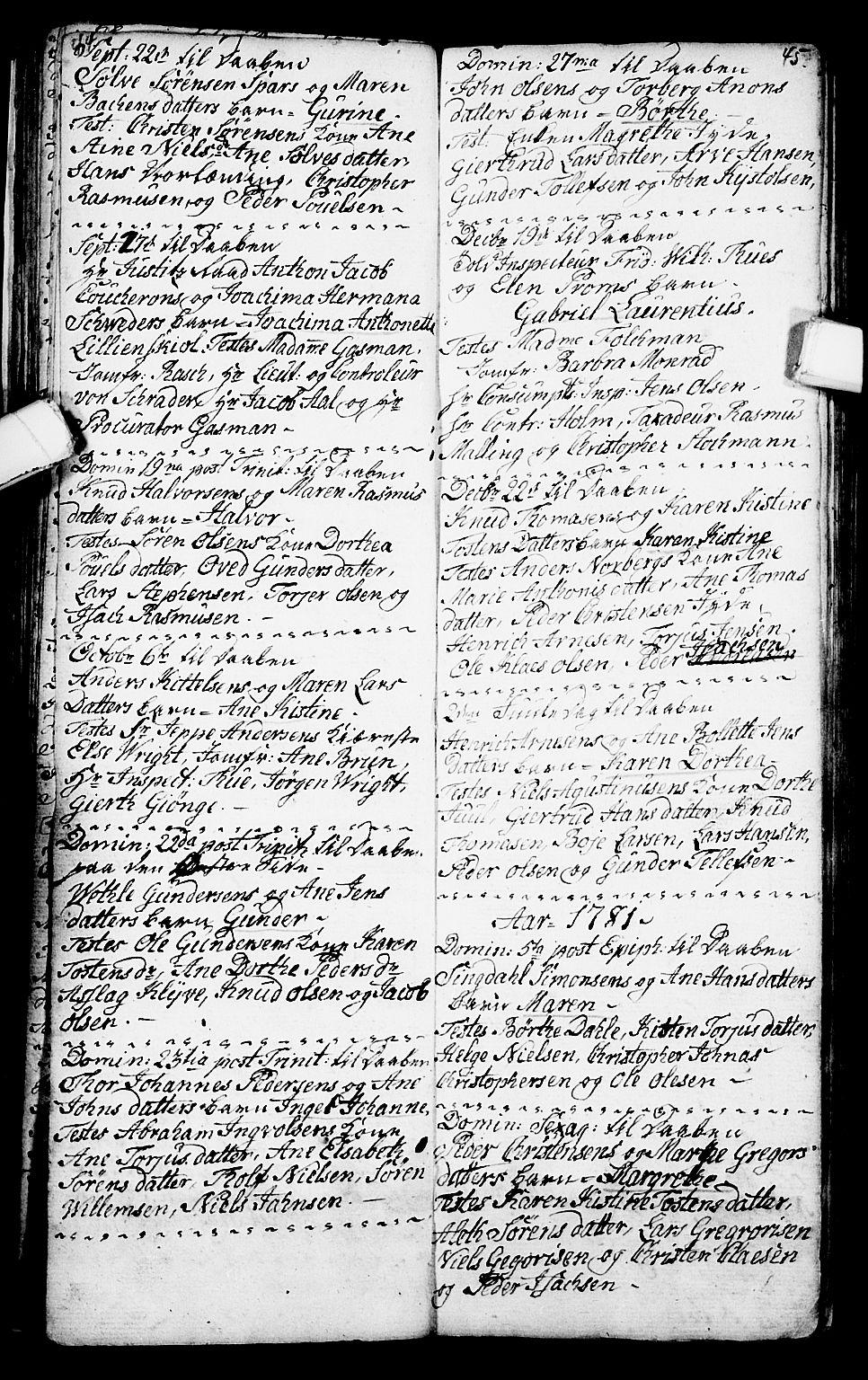 SAKO, Porsgrunn kirkebøker , G/Ga/L0001: Klokkerbok nr. I 1, 1766-1790, s. 44-45