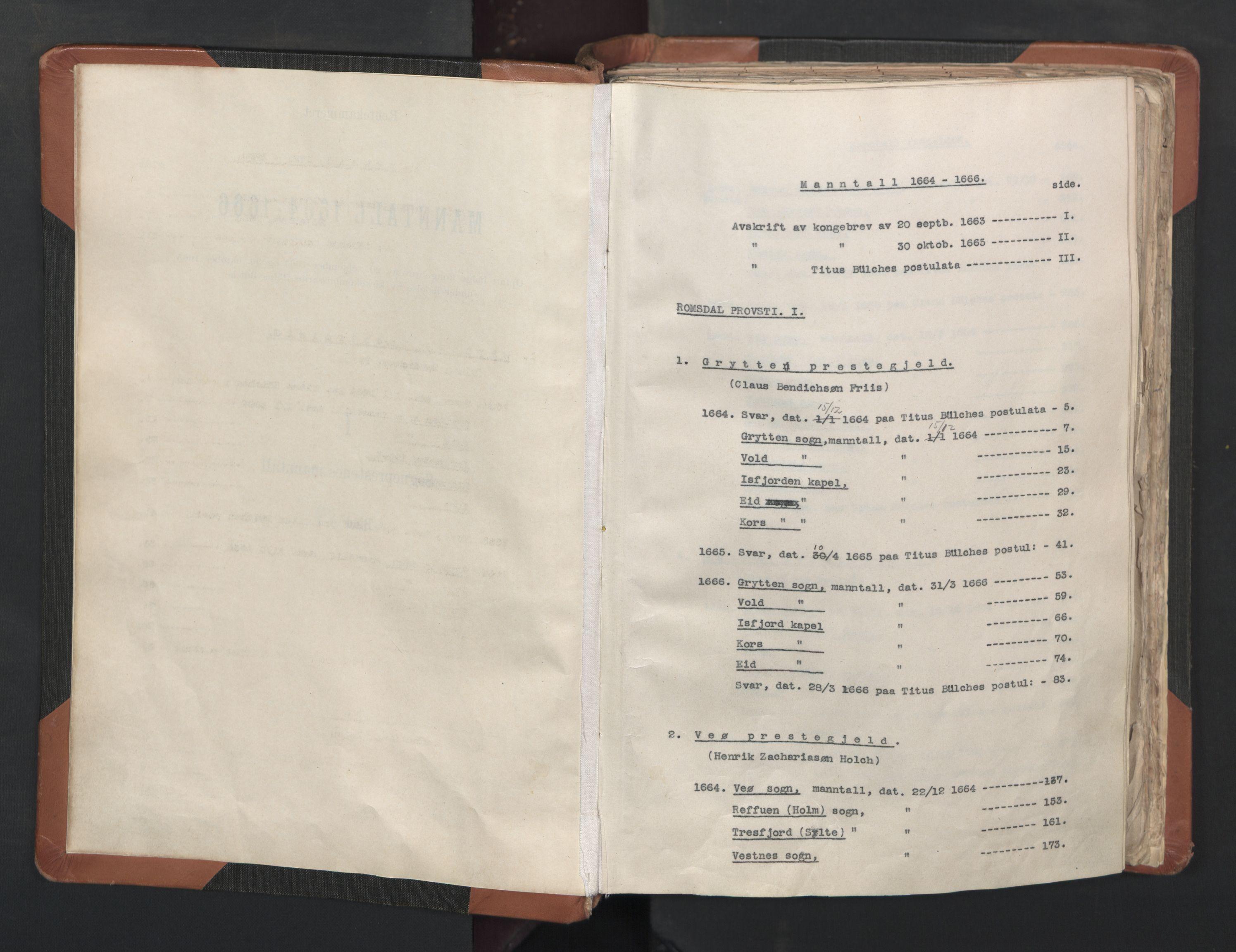 RA, Sogneprestenes manntall 1664-1666, nr. 27: Romsdal prosti, 1664-1666, s. upaginert