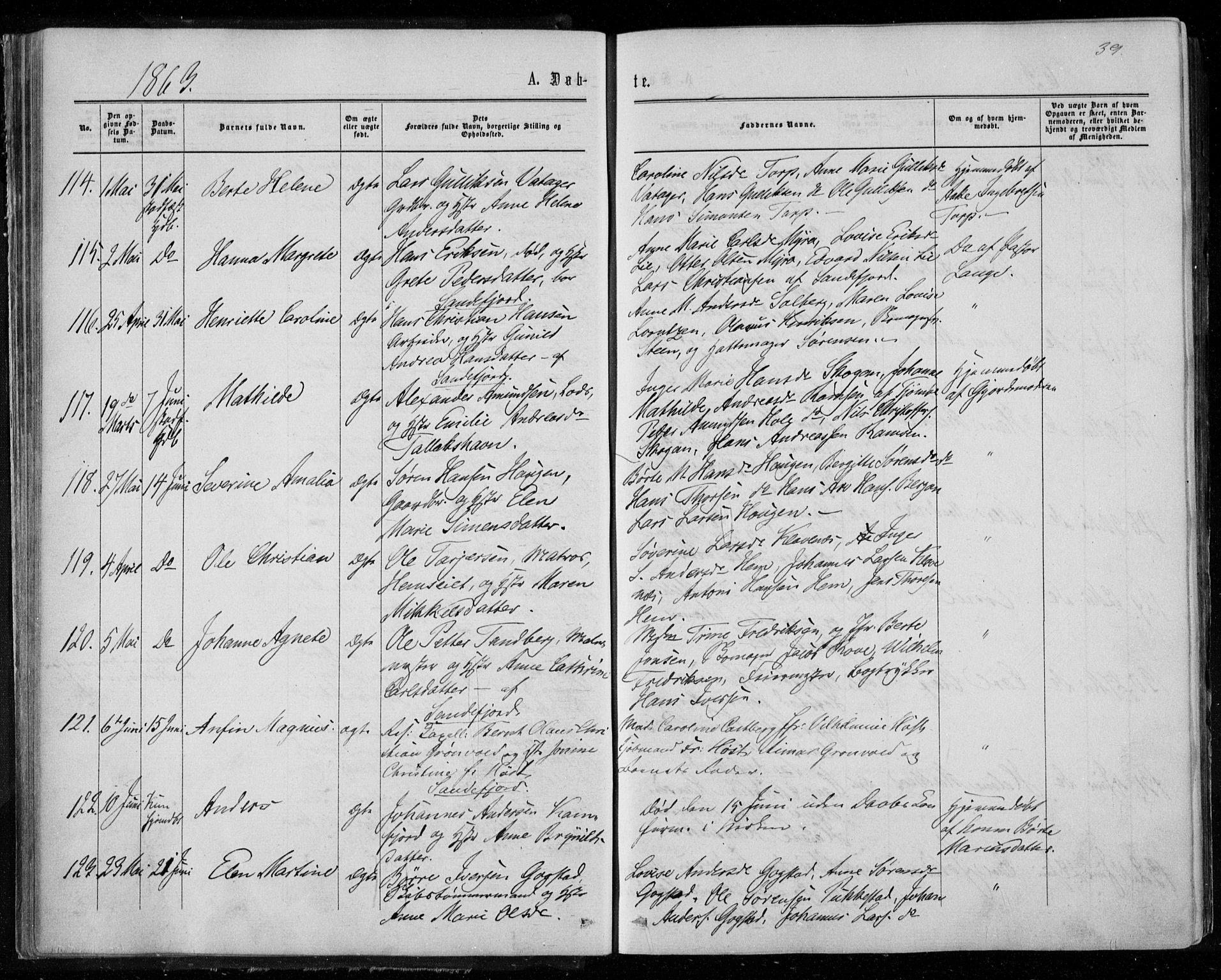 SAKO, Sandar kirkebøker, F/Fa/L0008: Ministerialbok nr. 8, 1862-1871, s. 39