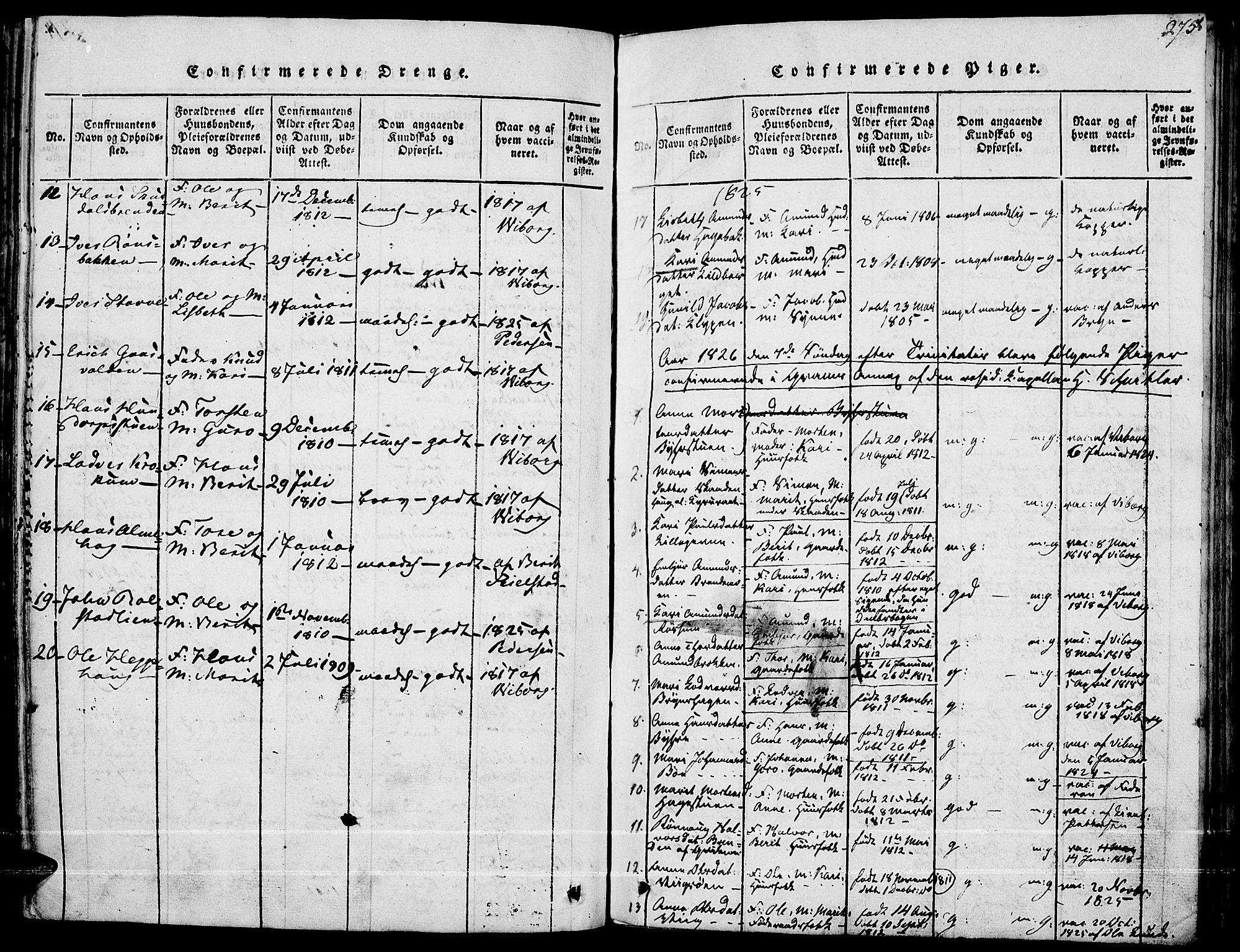 SAH, Fron prestekontor, H/Ha/Haa/L0002: Ministerialbok nr. 2, 1816-1827, s. 275