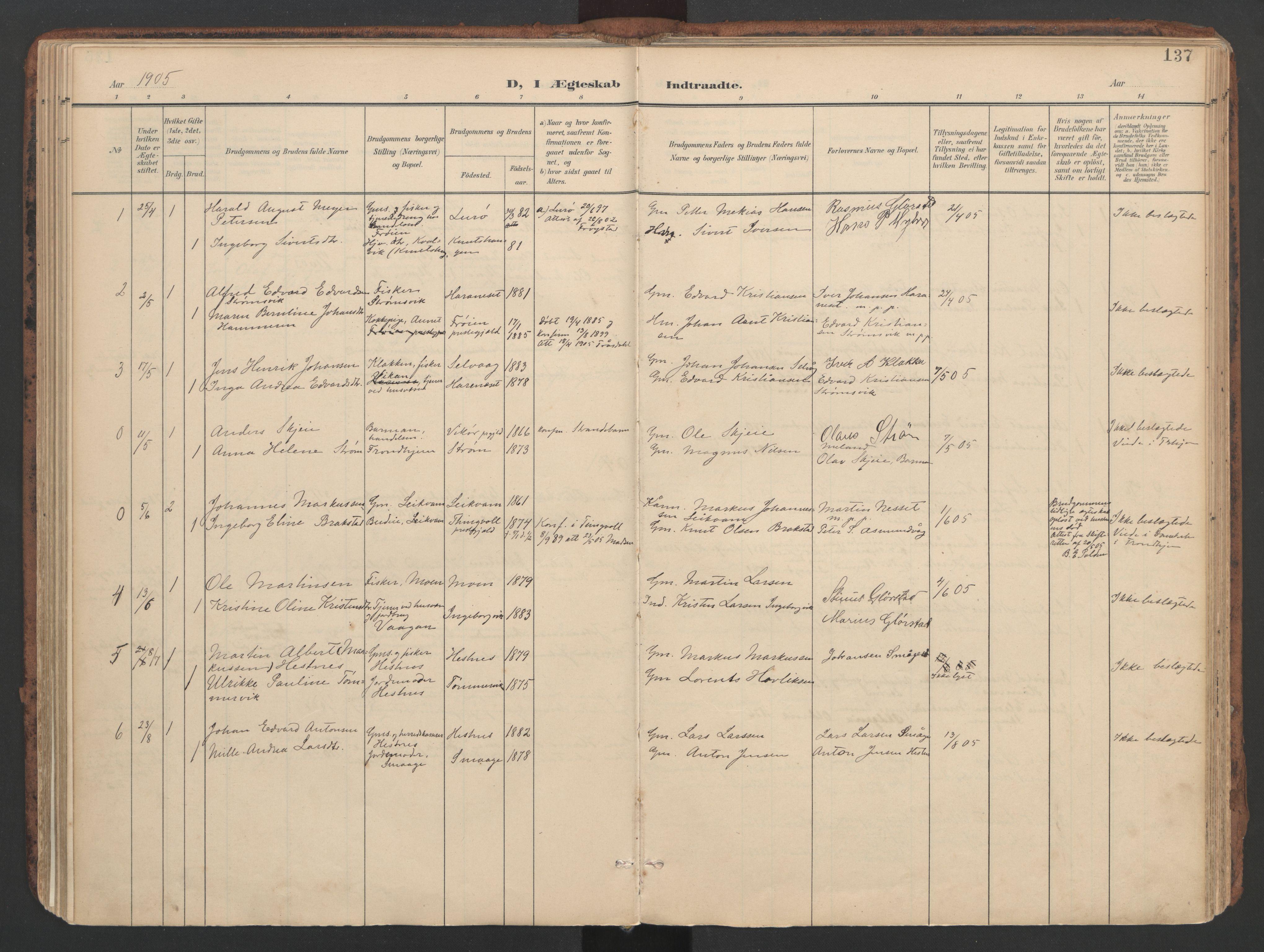 SAT, Ministerialprotokoller, klokkerbøker og fødselsregistre - Sør-Trøndelag, 634/L0537: Ministerialbok nr. 634A13, 1896-1922, s. 137
