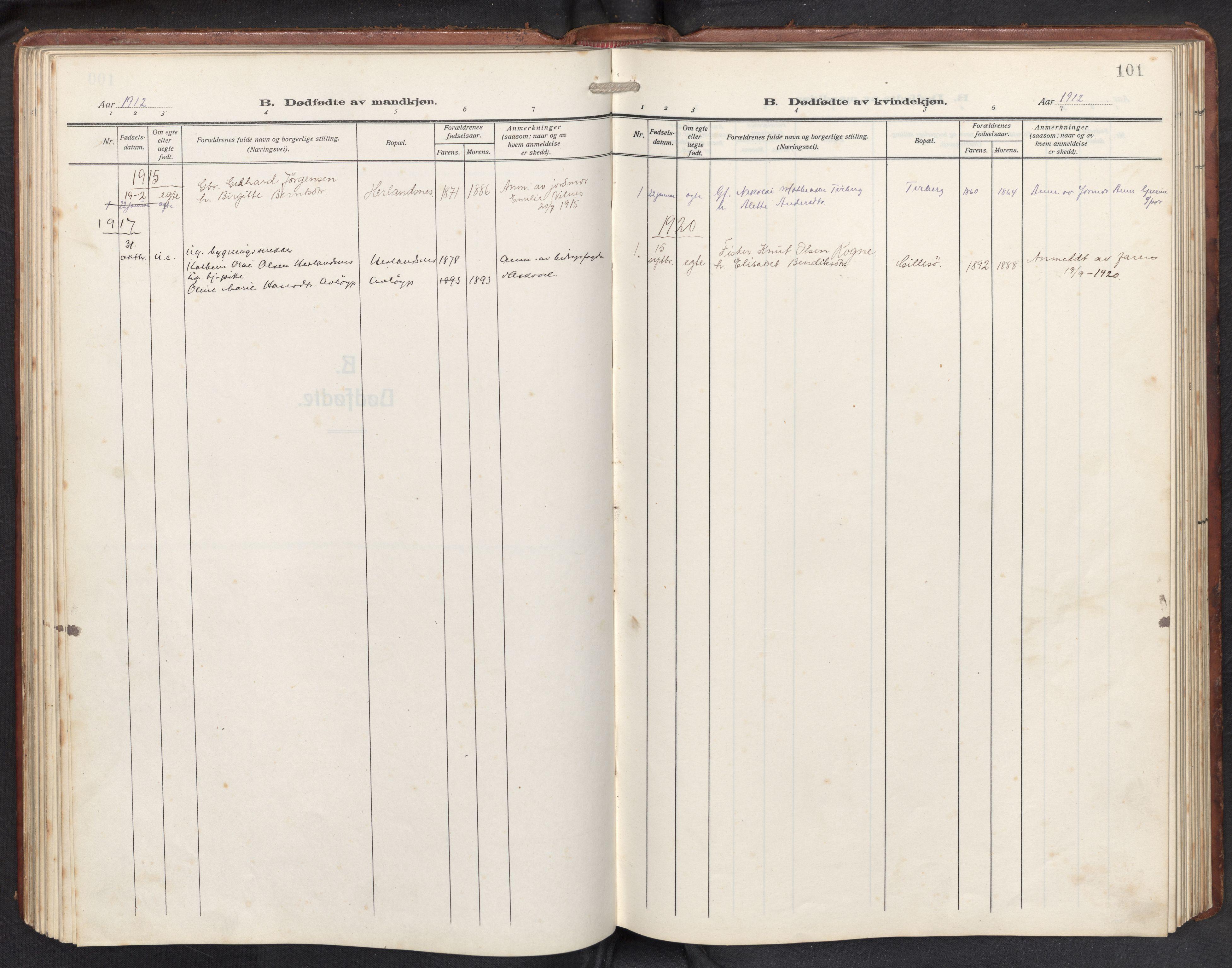 SAB, Askvoll sokneprestembete, H/Hab/Habb/L0002: Klokkerbok nr. B 2, 1910-1947, s. 100b-101a