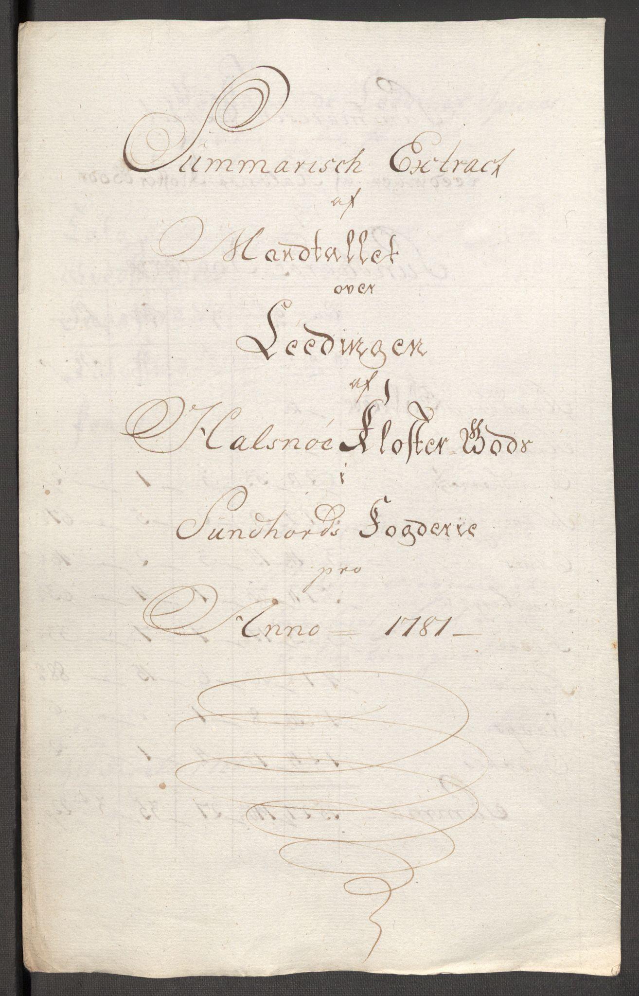 RA, Rentekammeret inntil 1814, Reviderte regnskaper, Fogderegnskap, R48/L3097: Fogderegnskap Sunnhordland og Hardanger, 1781, s. 273