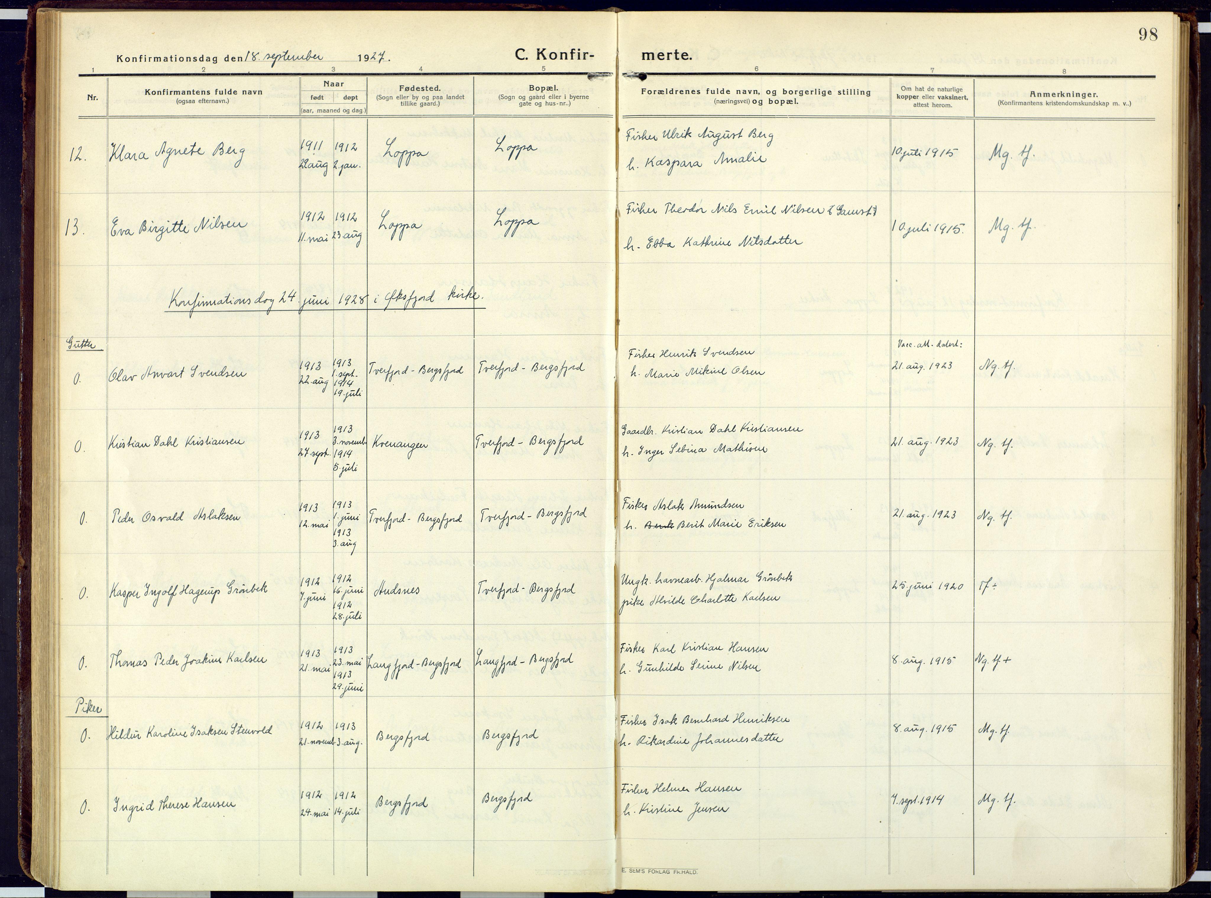 SATØ, Loppa sokneprestkontor, H/Ha/L0013kirke: Ministerialbok nr. 13, 1920-1932, s. 98