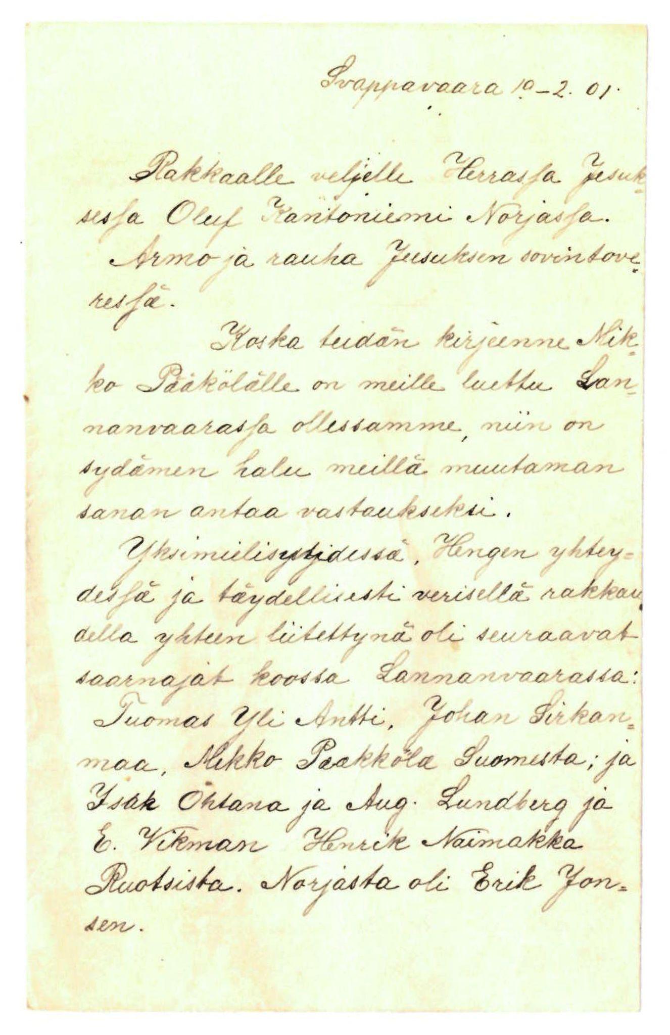 FMFB, Elise Balos brevsamling, F/Fa/L0014: Brev fra Pääkkölä et al. til O. Kantoniemi , 1901