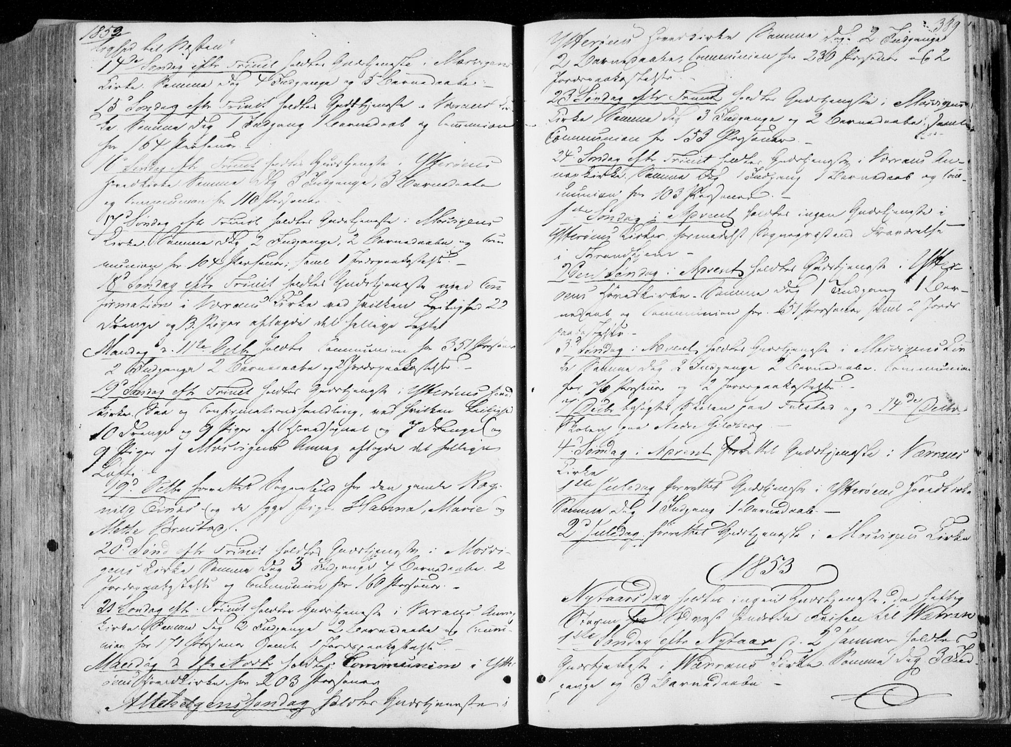 SAT, Ministerialprotokoller, klokkerbøker og fødselsregistre - Nord-Trøndelag, 722/L0218: Ministerialbok nr. 722A05, 1843-1868, s. 389
