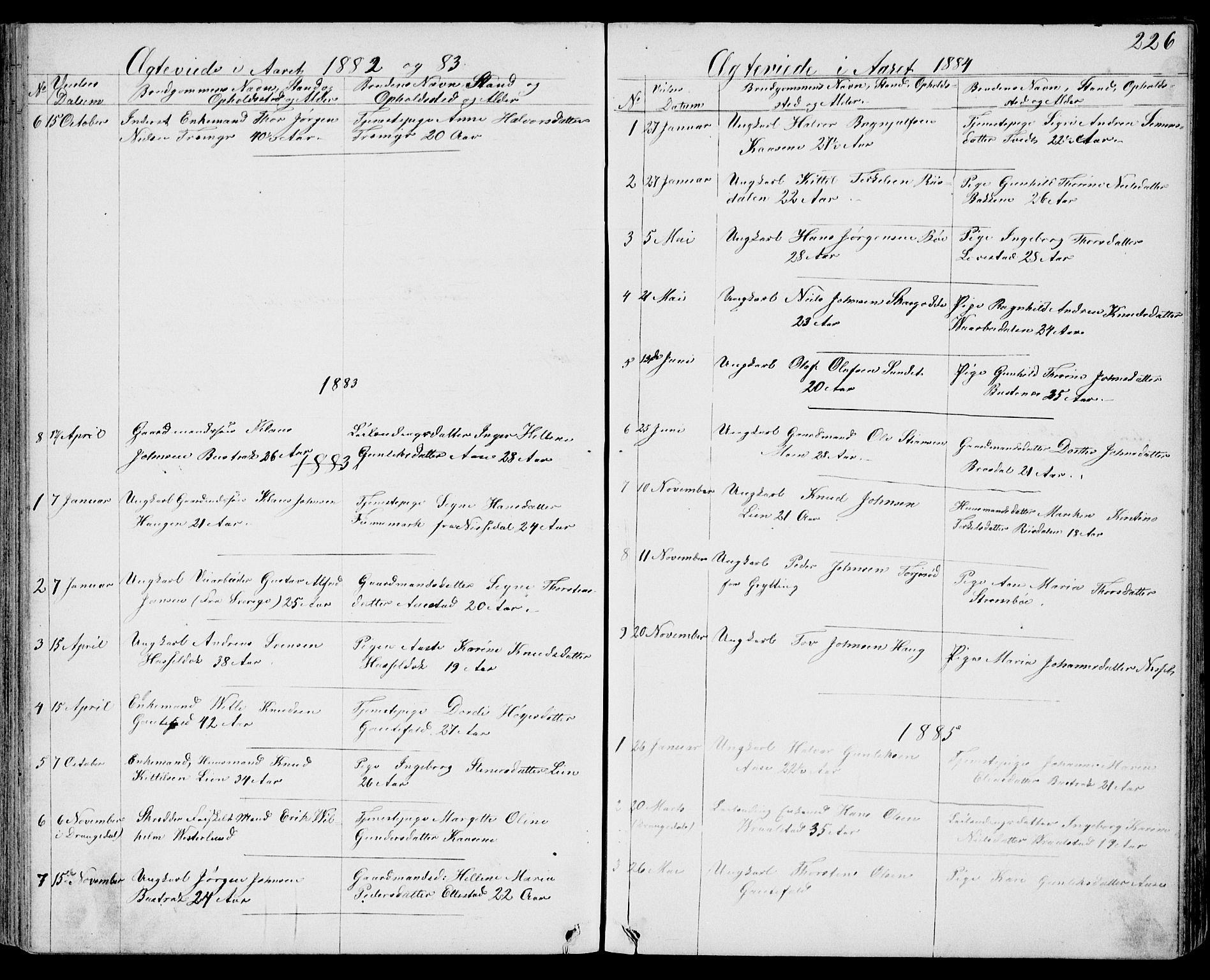 SAKO, Drangedal kirkebøker, G/Gb/L0001: Klokkerbok nr. II 1, 1856-1894, s. 226