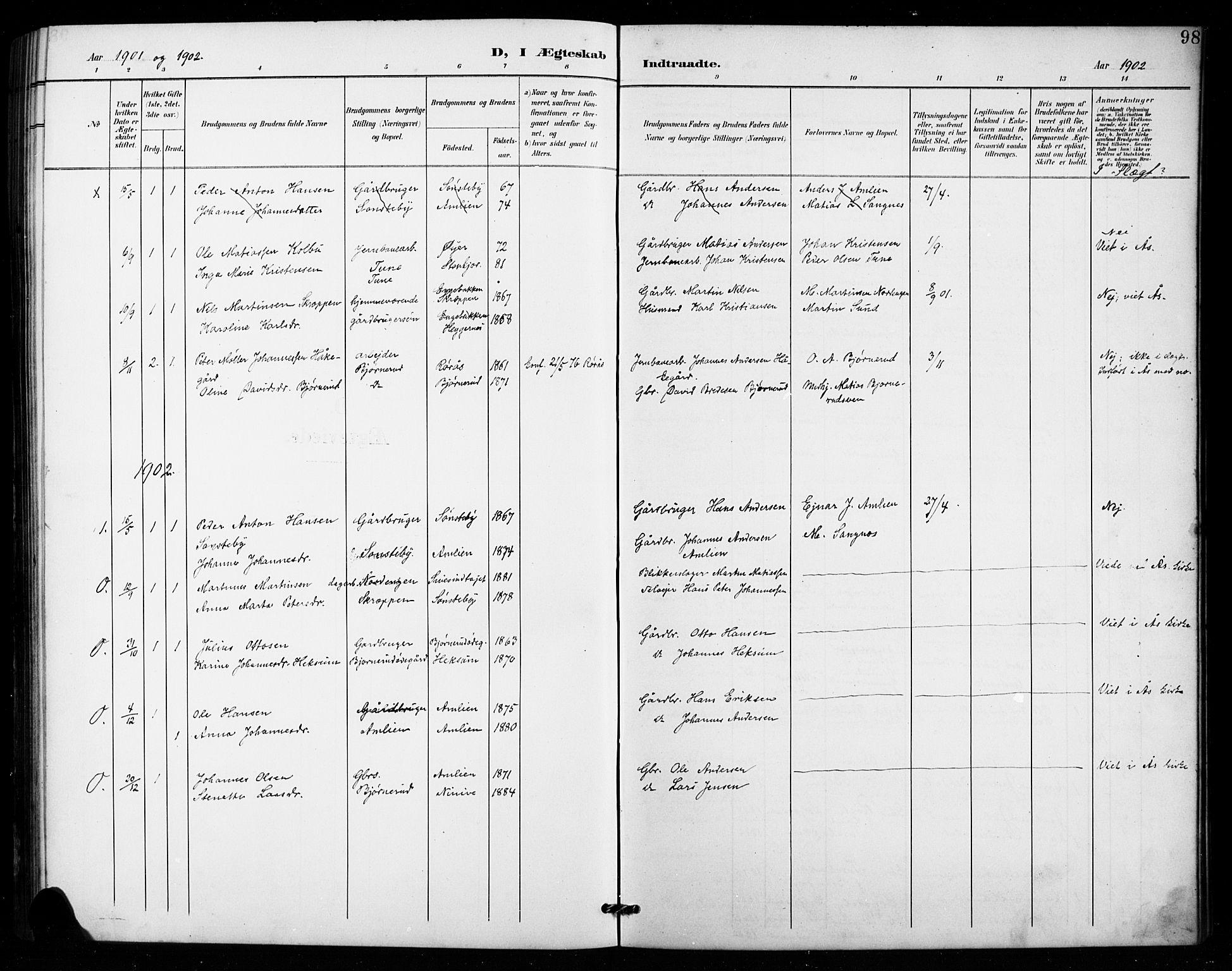 SAH, Vestre Toten prestekontor, H/Ha/Hab/L0016: Klokkerbok nr. 16, 1901-1915, s. 98