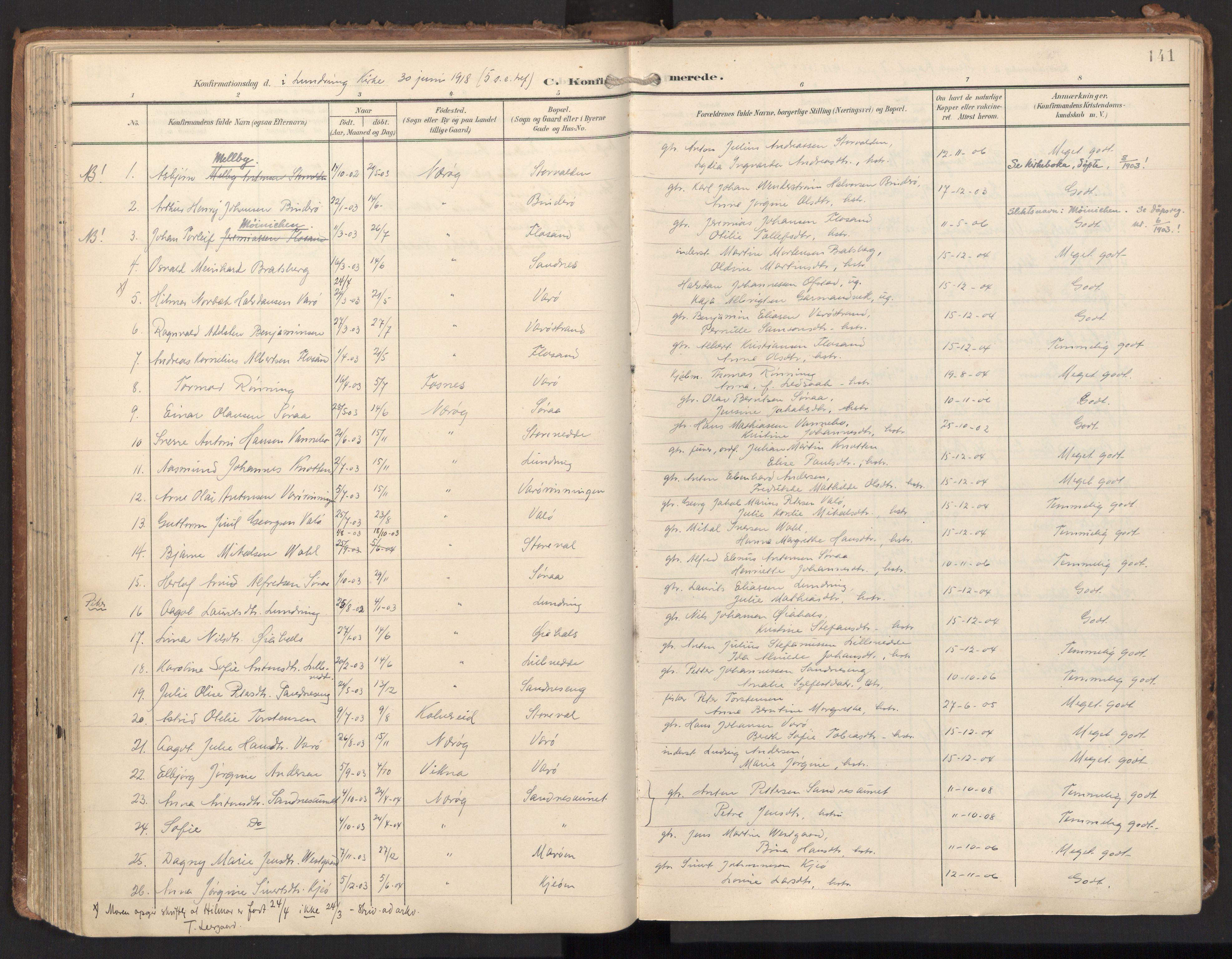 SAT, Ministerialprotokoller, klokkerbøker og fødselsregistre - Nord-Trøndelag, 784/L0677: Ministerialbok nr. 784A12, 1900-1920, s. 141