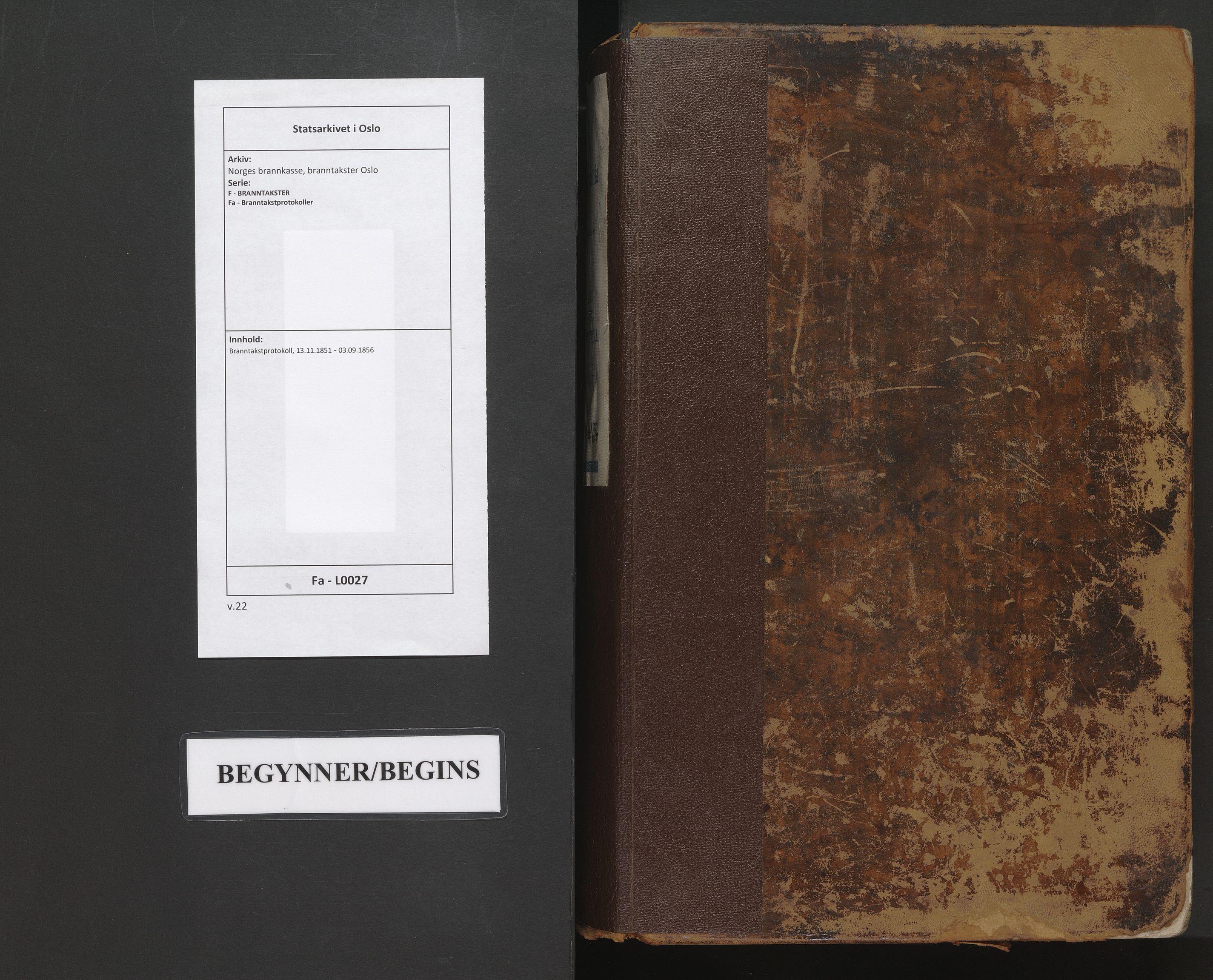 SAO, Norges brannkasse, branntakster Oslo, F/Fa/L0027: Branntakstprotokoll, 1851-1856