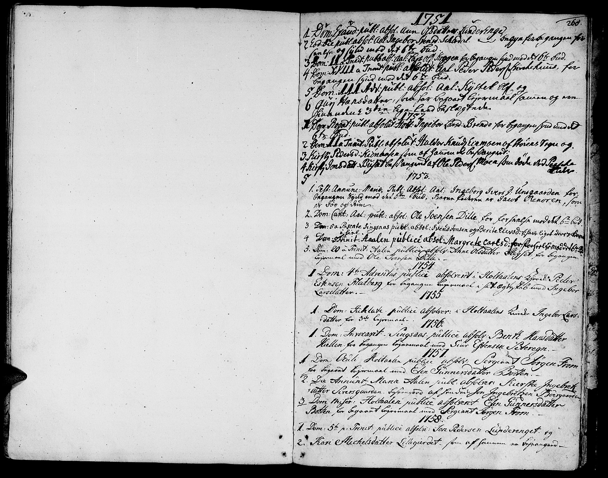 SAT, Ministerialprotokoller, klokkerbøker og fødselsregistre - Sør-Trøndelag, 685/L0952: Ministerialbok nr. 685A01, 1745-1804, s. 260