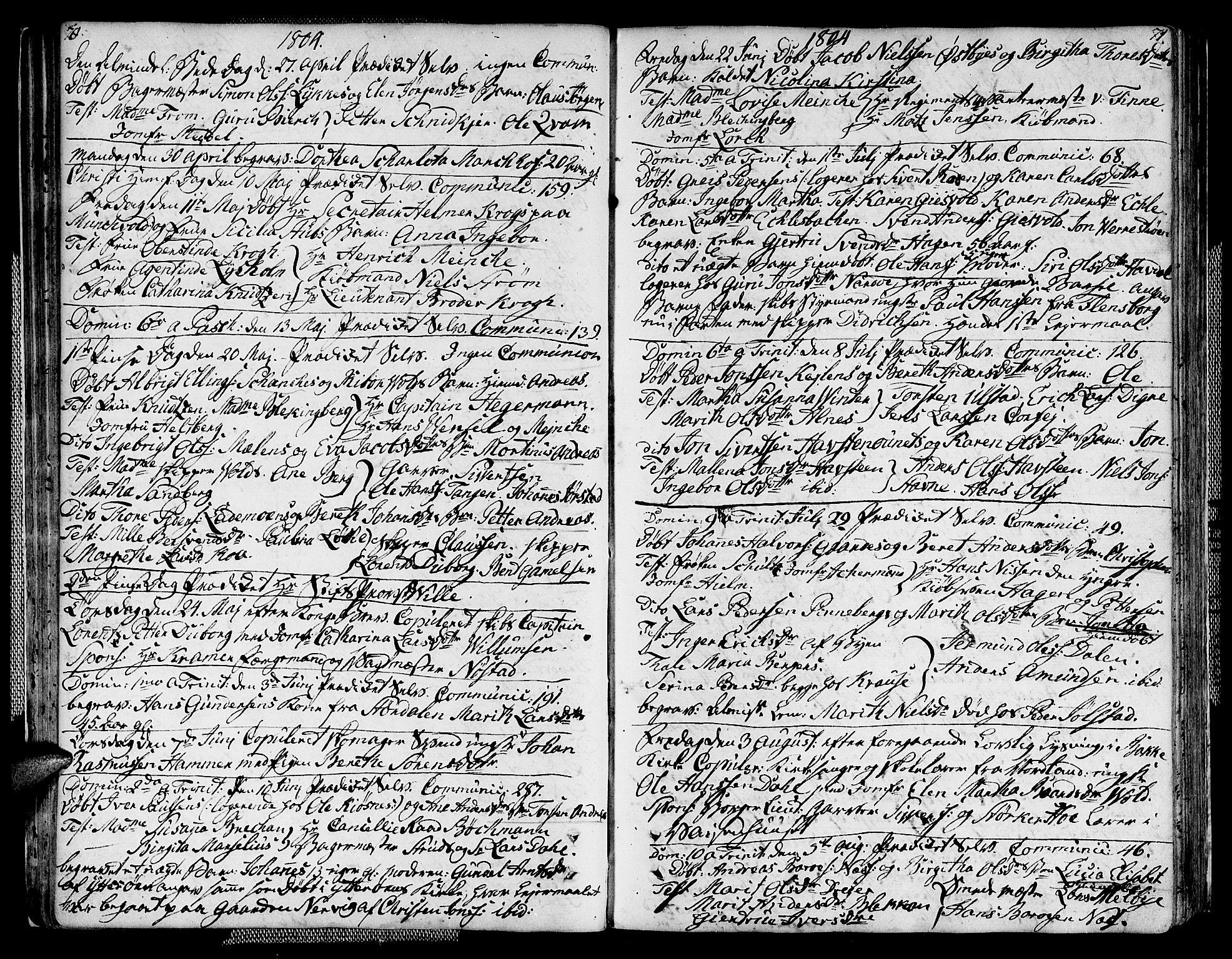 SAT, Ministerialprotokoller, klokkerbøker og fødselsregistre - Sør-Trøndelag, 604/L0181: Ministerialbok nr. 604A02, 1798-1817, s. 70-71
