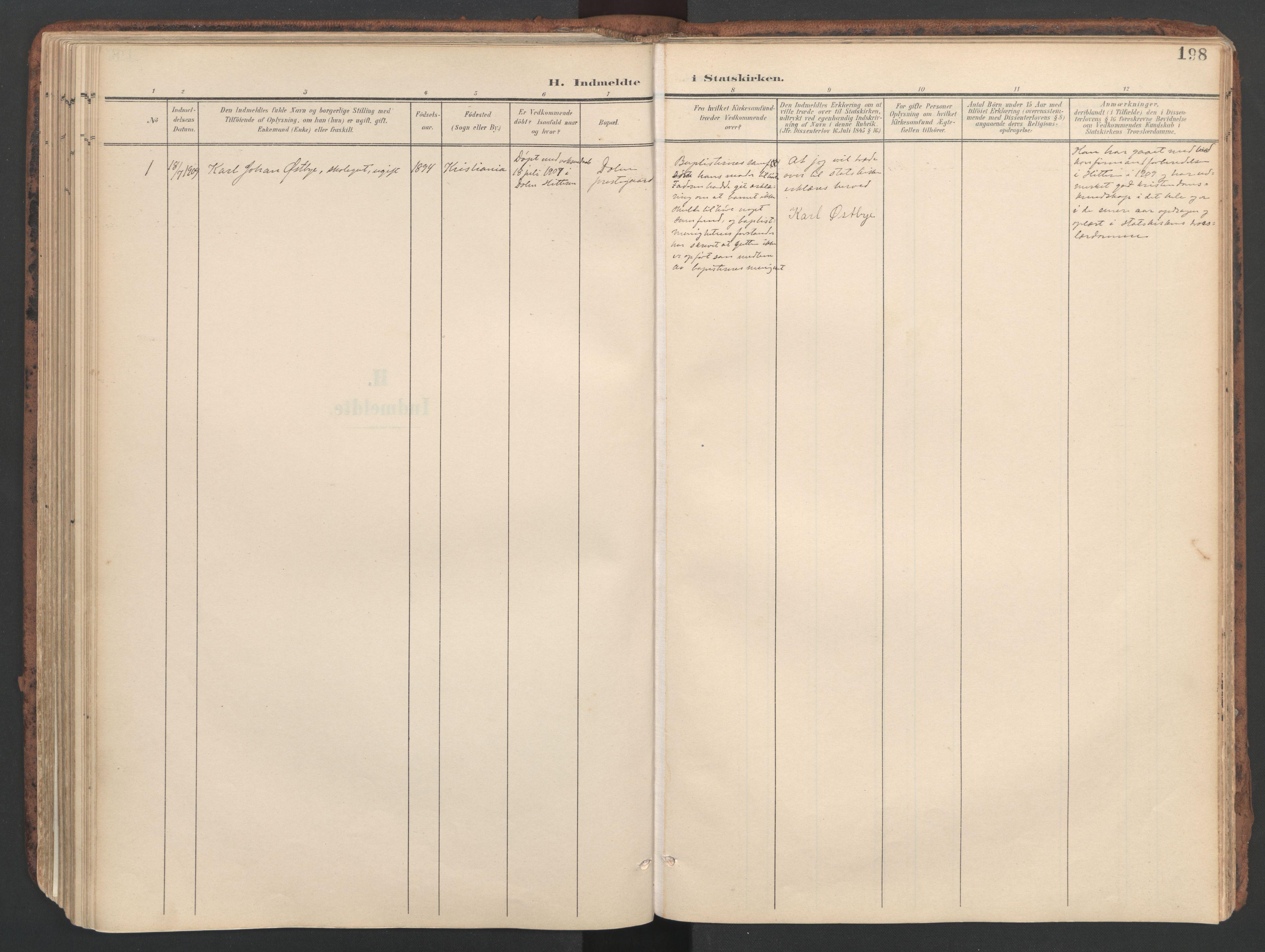 SAT, Ministerialprotokoller, klokkerbøker og fødselsregistre - Sør-Trøndelag, 634/L0537: Ministerialbok nr. 634A13, 1896-1922, s. 198