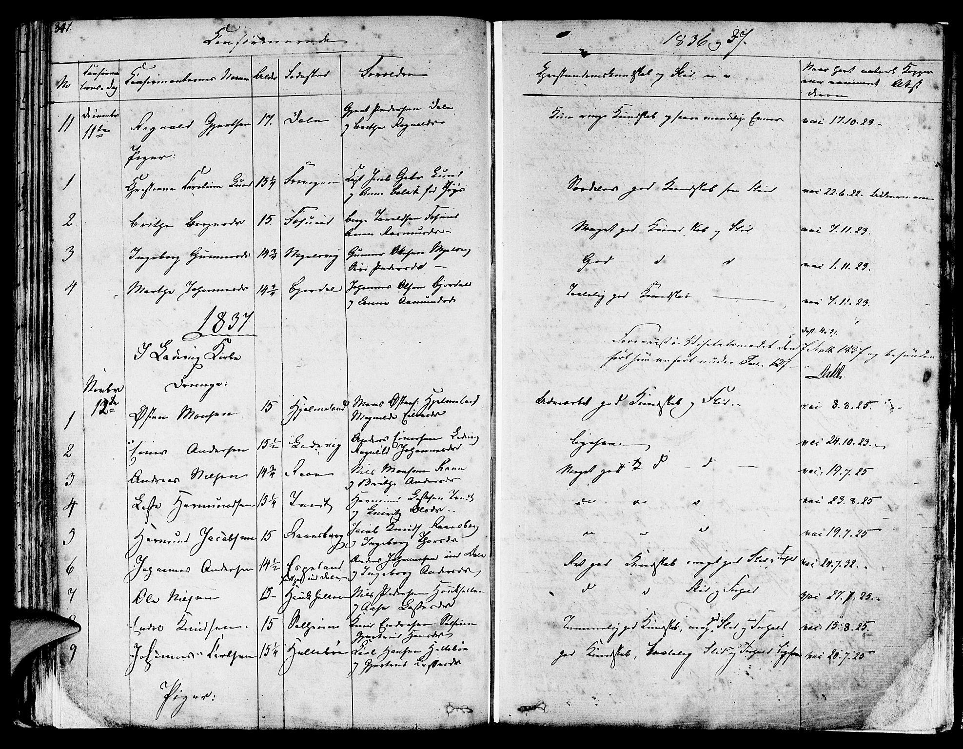 SAB, Lavik sokneprestembete, Ministerialbok nr. A 2I, 1821-1842, s. 341