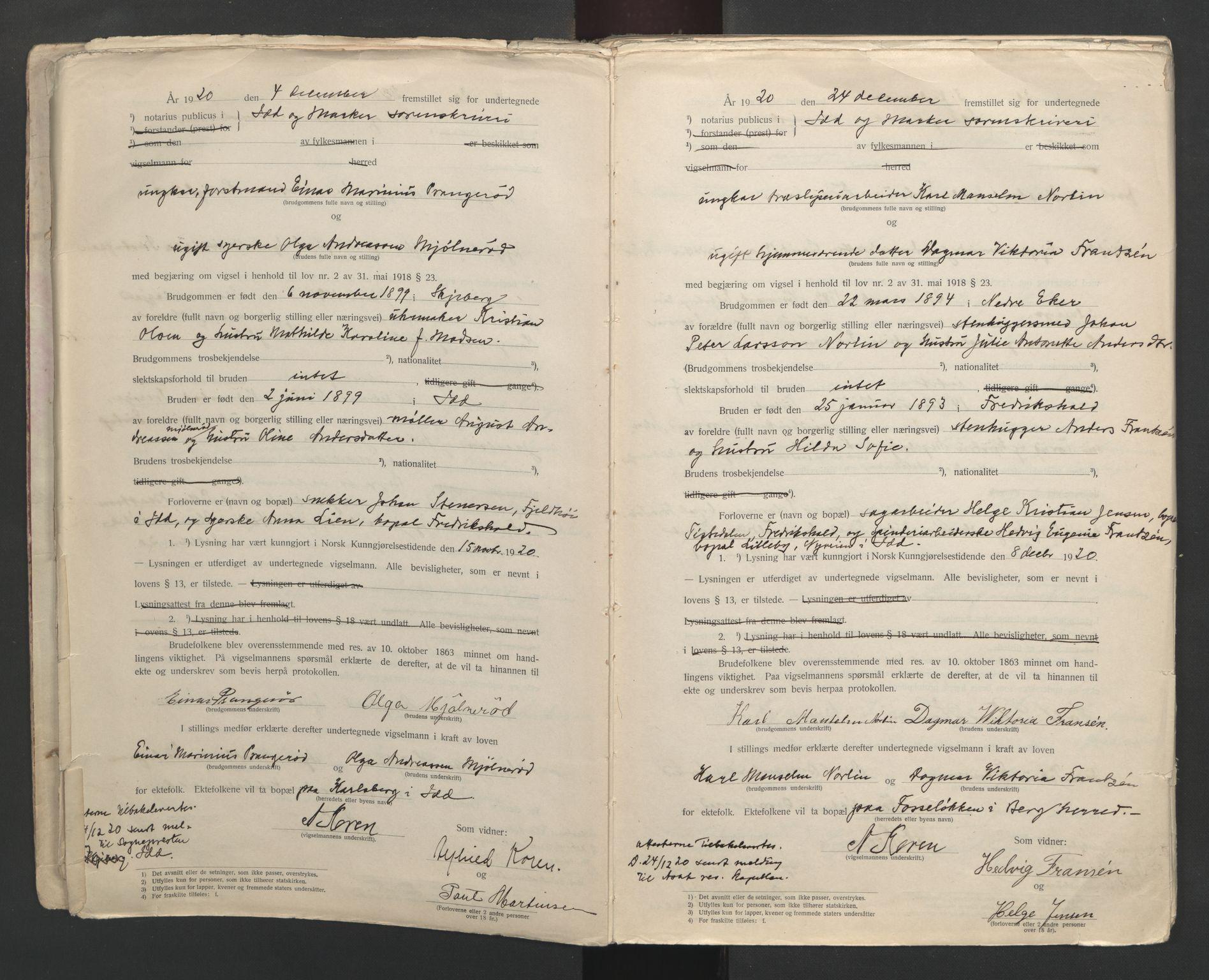 SAO, Idd og Marker sorenskriveri, L/Lc/L0001: Vigselsbøker, 1920-1942, s. 6