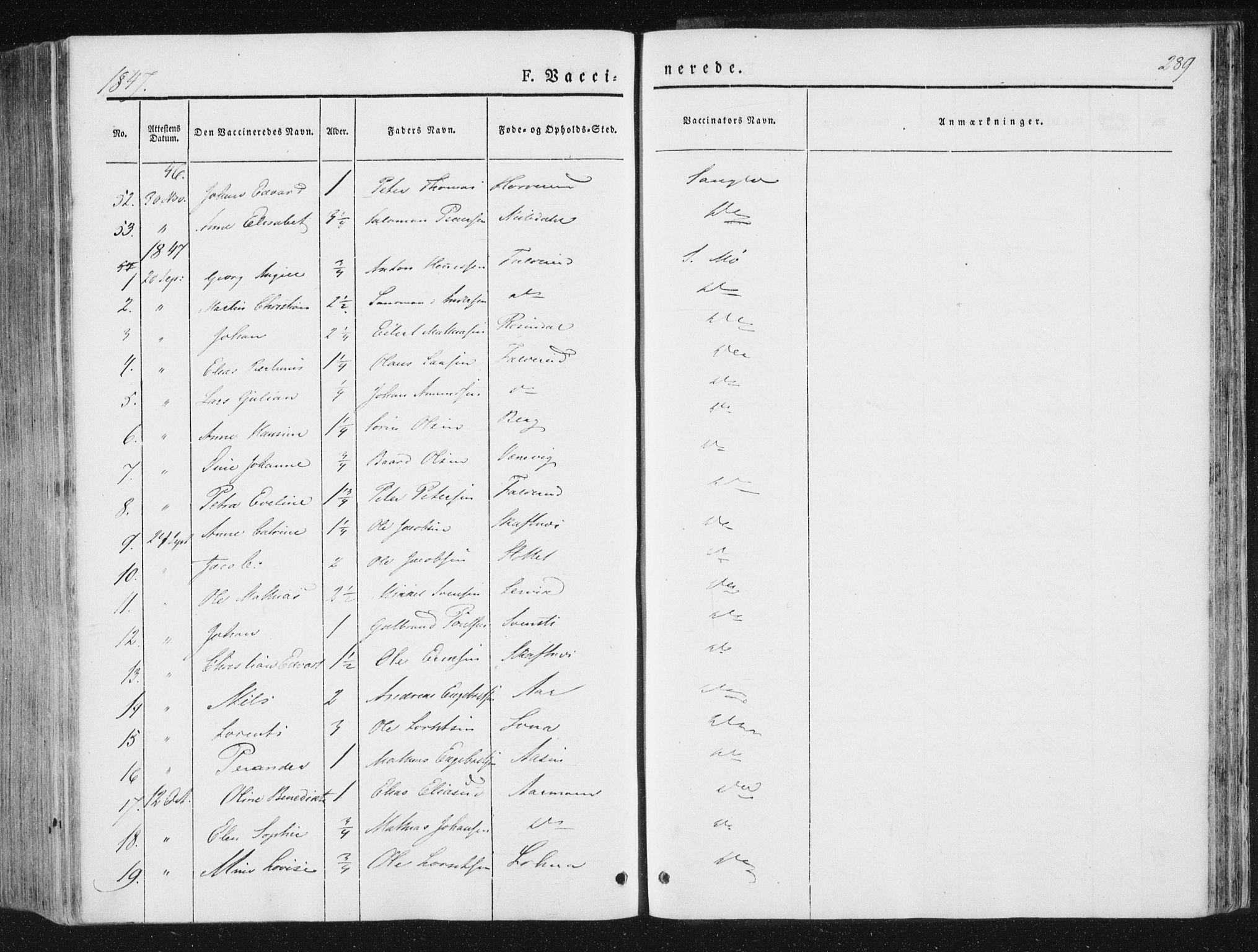 SAT, Ministerialprotokoller, klokkerbøker og fødselsregistre - Nord-Trøndelag, 780/L0640: Ministerialbok nr. 780A05, 1845-1856, s. 289
