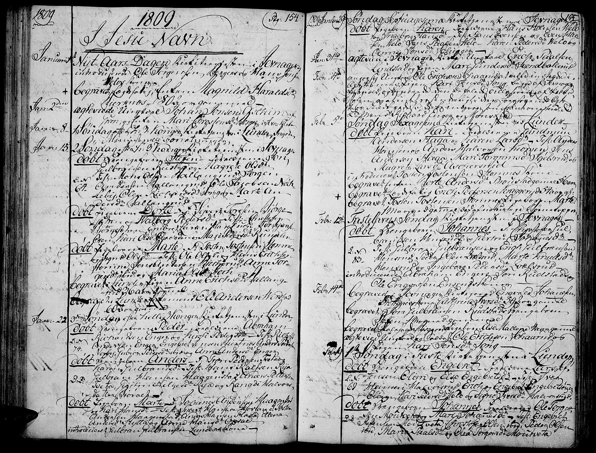 SAH, Jevnaker prestekontor, Ministerialbok nr. 4, 1800-1861, s. 154-155