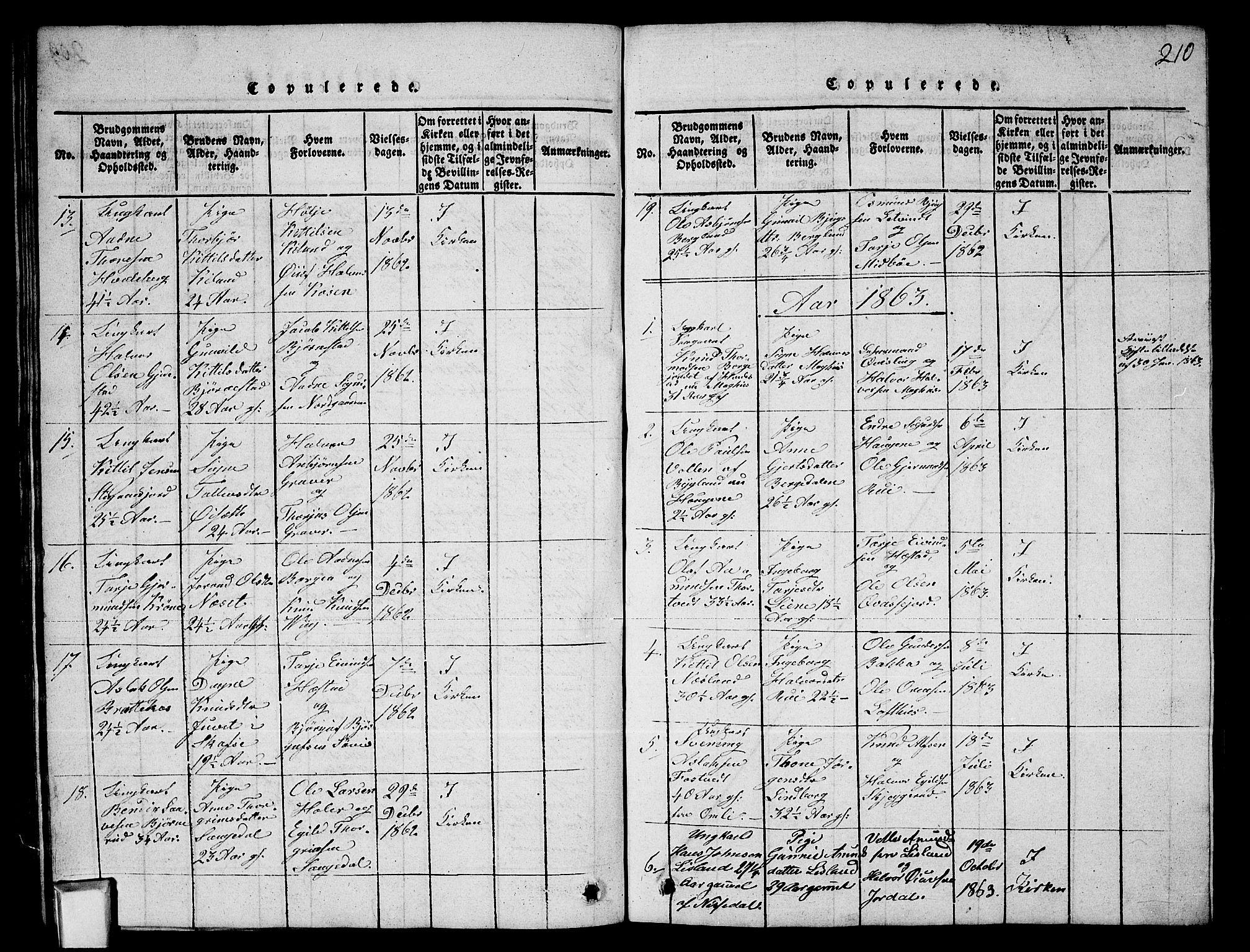 SAKO, Fyresdal kirkebøker, G/Ga/L0003: Klokkerbok nr. I 3, 1815-1863, s. 210