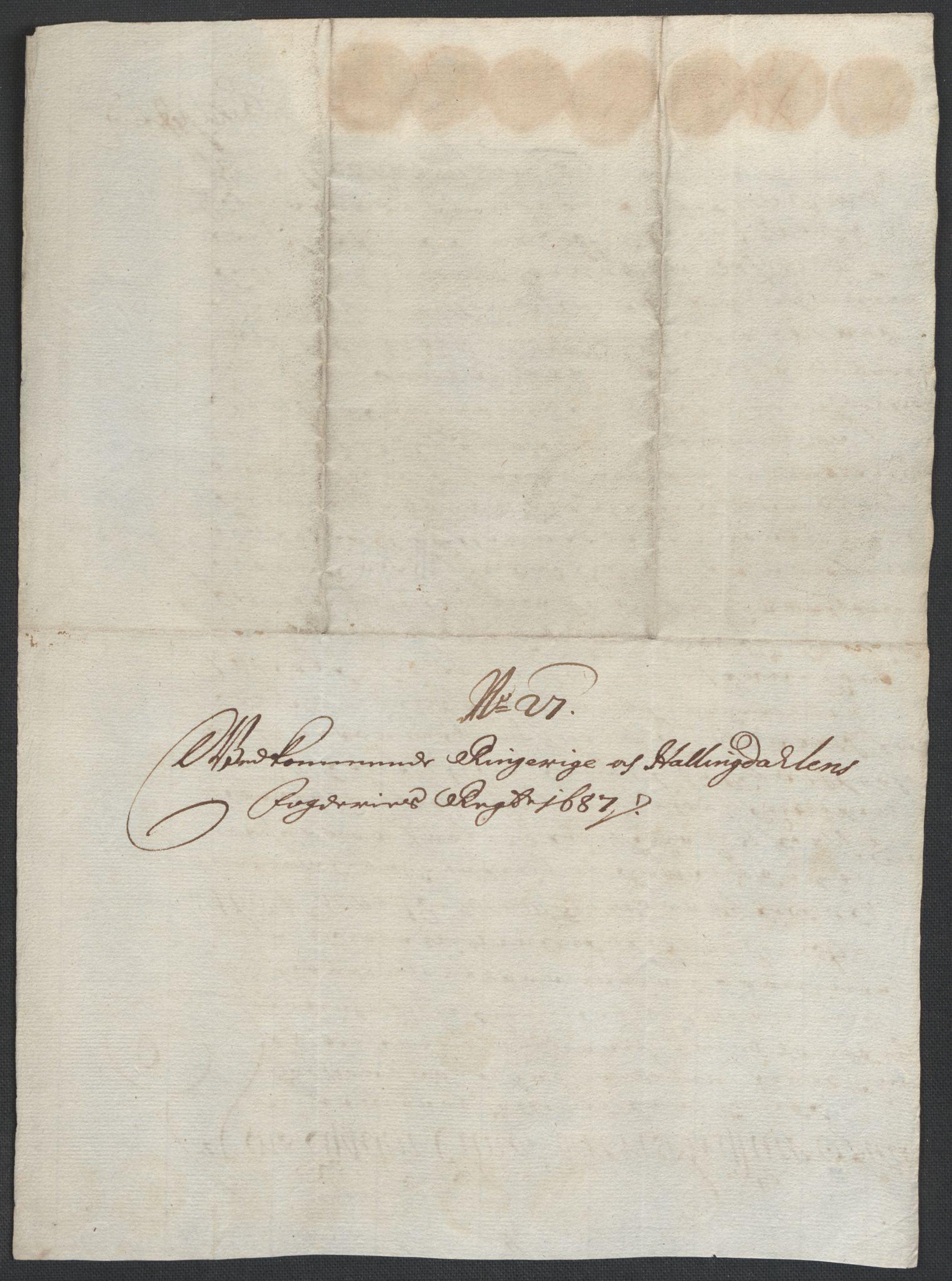 RA, Rentekammeret inntil 1814, Reviderte regnskaper, Fogderegnskap, R21/L1447: Fogderegnskap Ringerike og Hallingdal, 1687-1689, s. 117